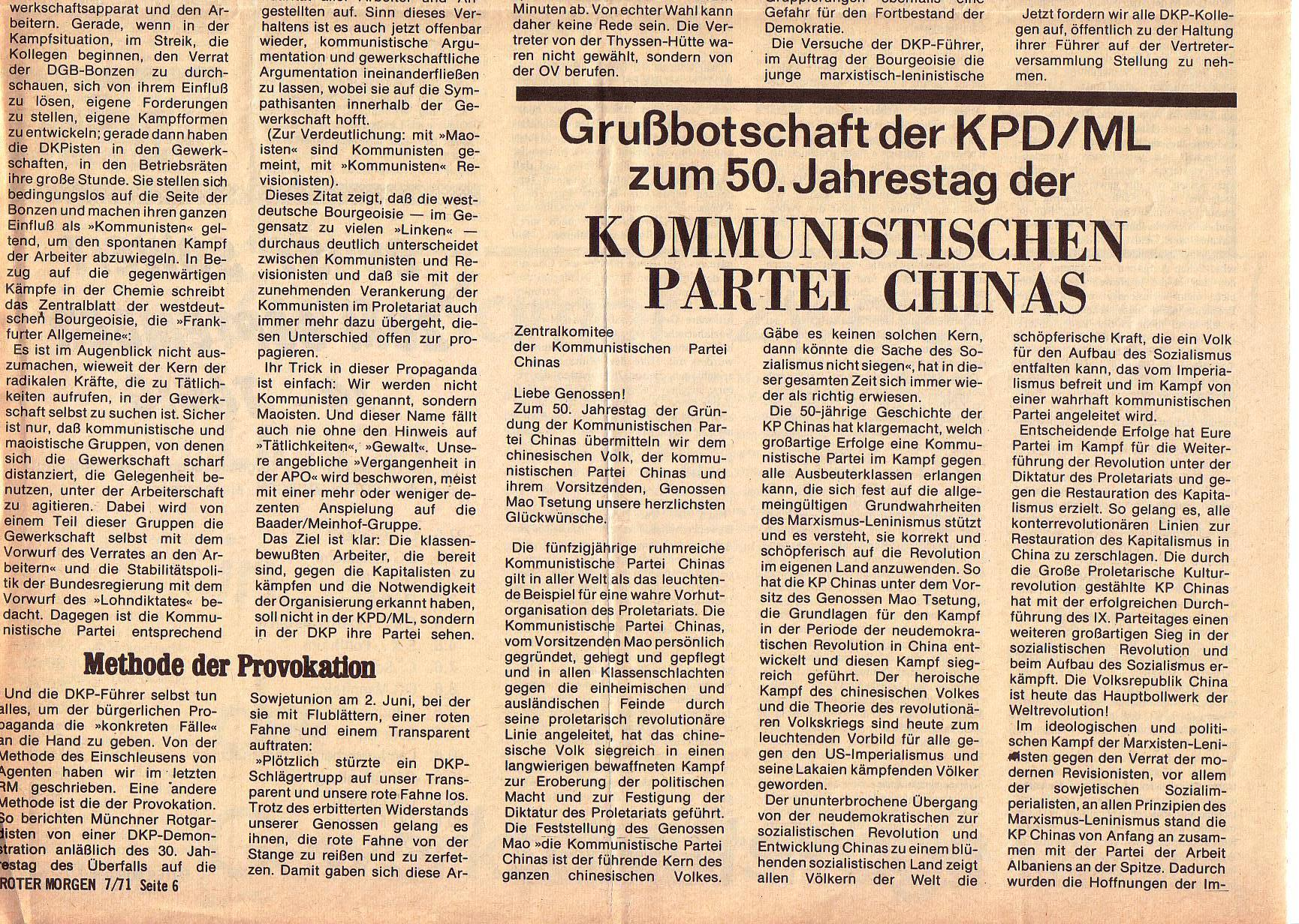 Roter Morgen, 5. Jg., Juli 1971, Nr. 7, Seite 6b