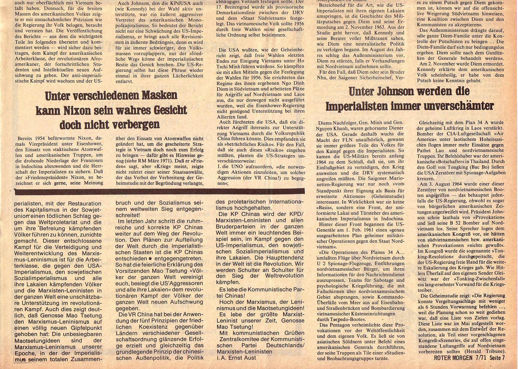 Roter Morgen, 5. Jg., Juli 1971, Nr. 7, Seite 7b