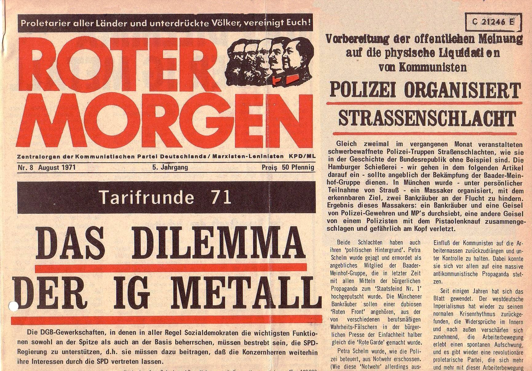 Roter Morgen, 5. Jg., August 1971, Nr. 8, Seite 1a