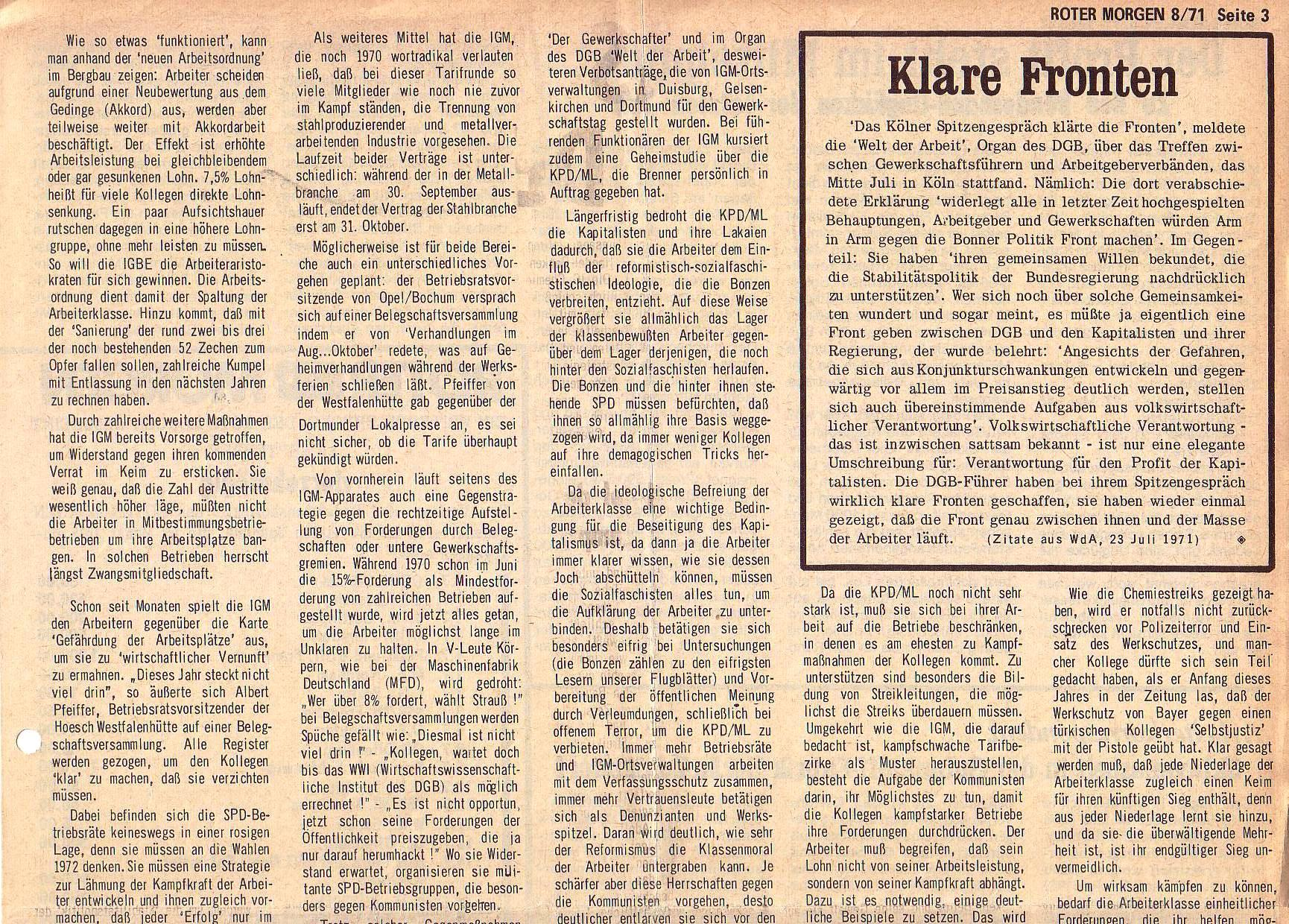 Roter Morgen, 5. Jg., August 1971, Nr. 8, Seite 3a