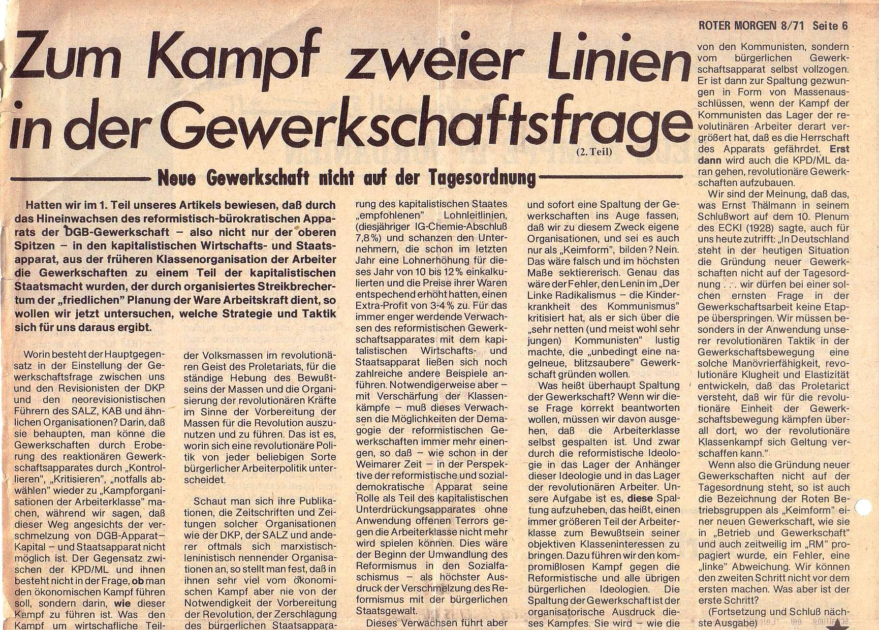 Roter Morgen, 5. Jg., August 1971, Nr. 8, Seite 6a