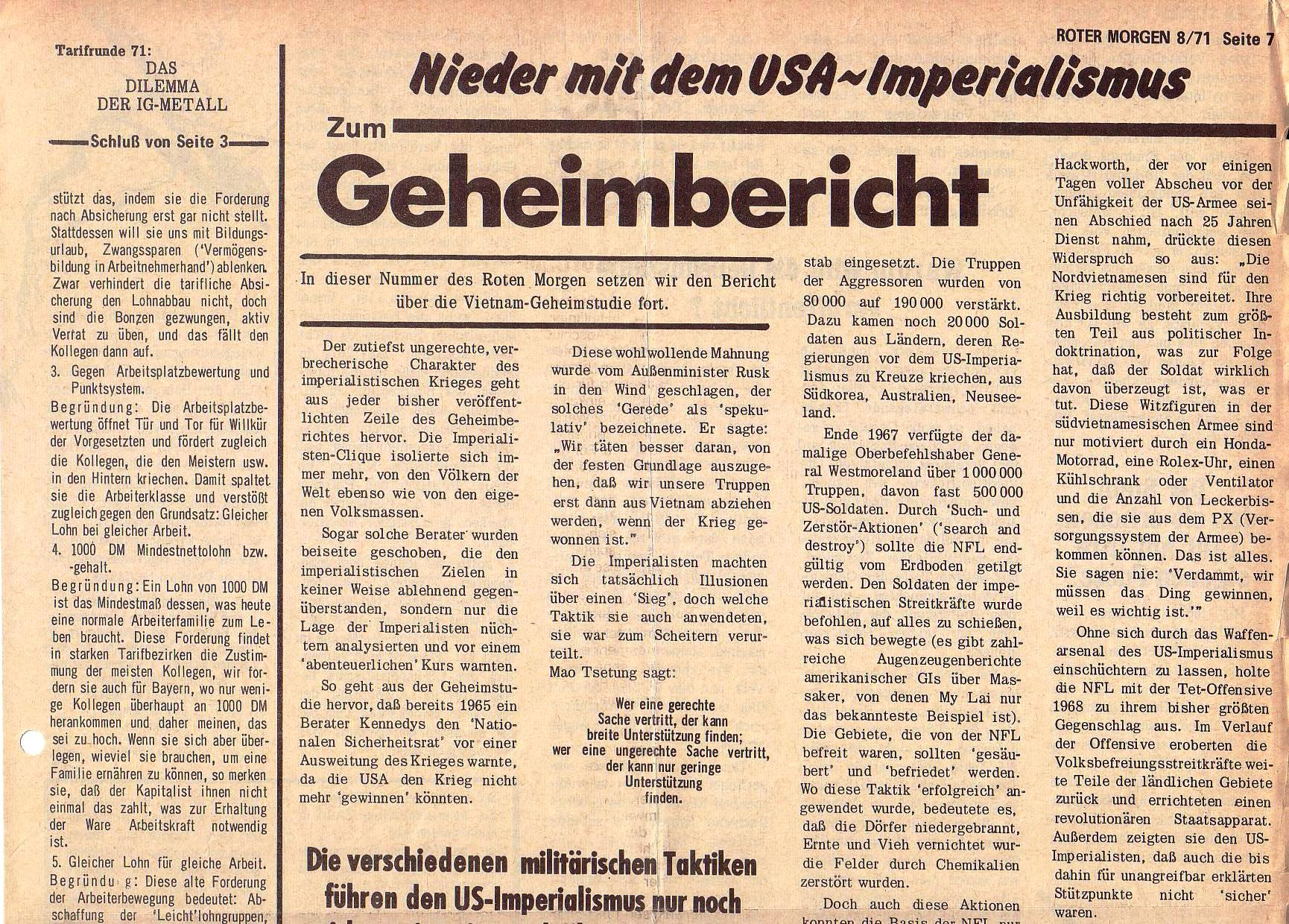 Roter Morgen, 5. Jg., August 1971, Nr. 8, Seite 7a