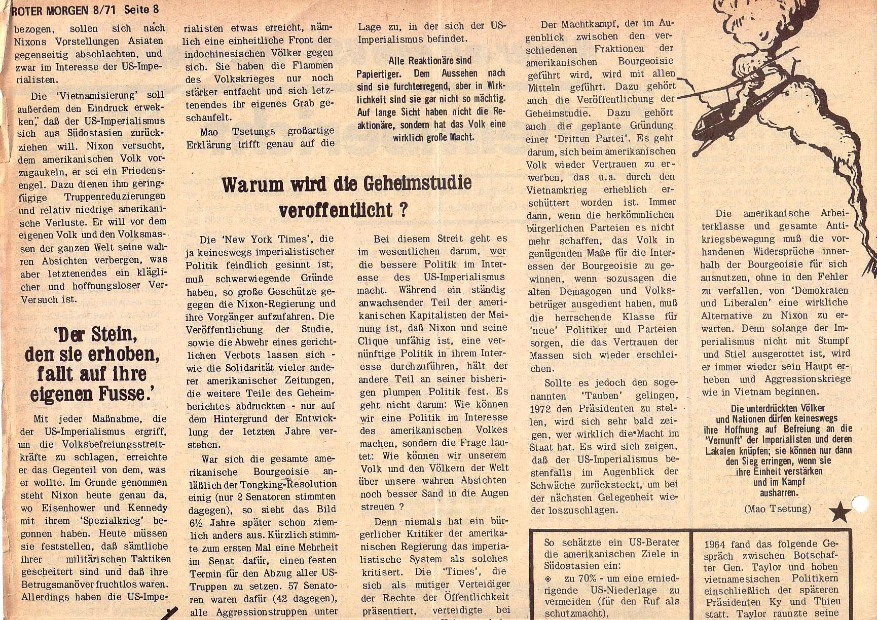 Roter Morgen, 5. Jg., August 1971, Nr. 8, Seite 8a