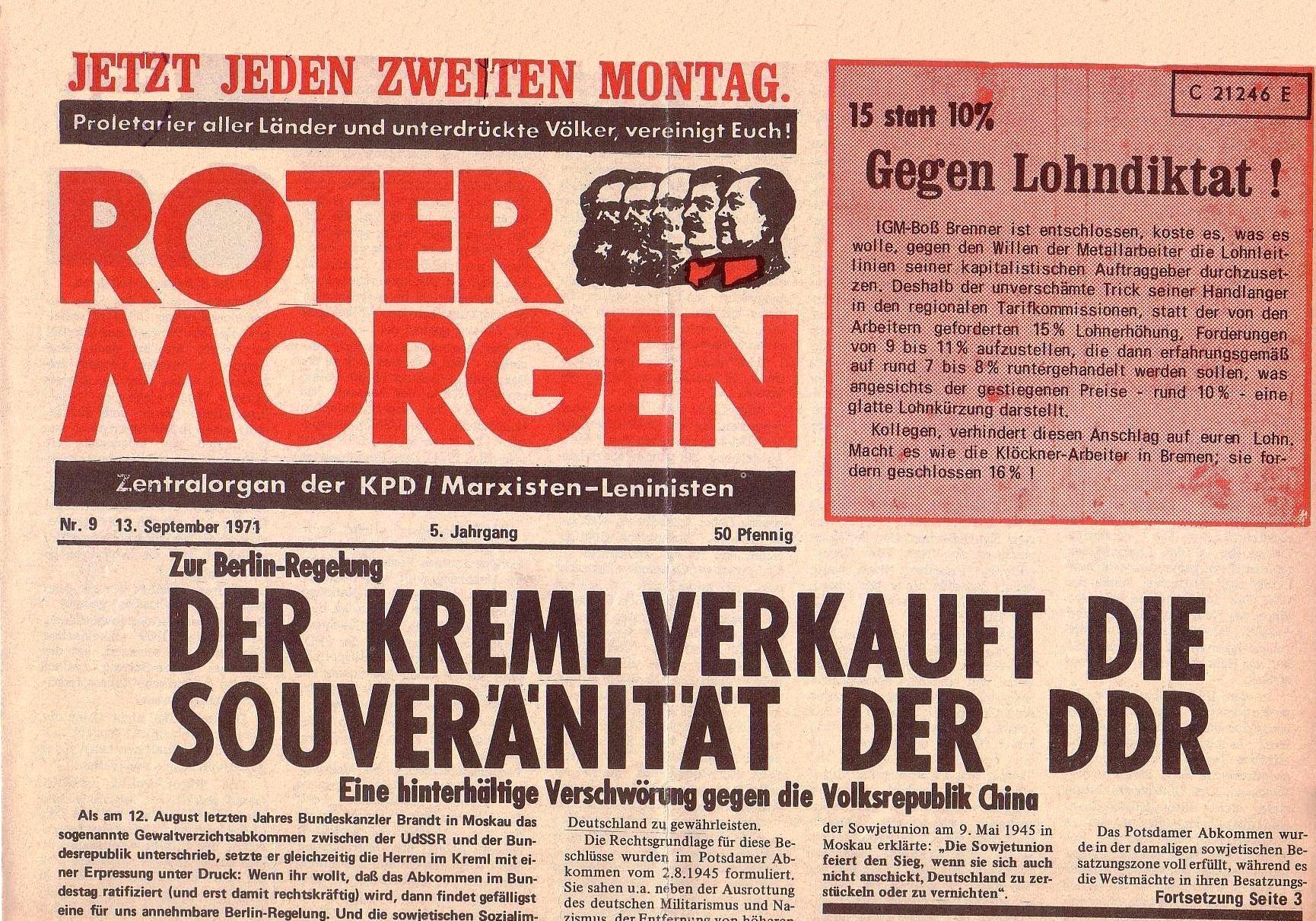 Roter Morgen, 5. Jg., 13. September 1971, Nr. 9, Seite 1a