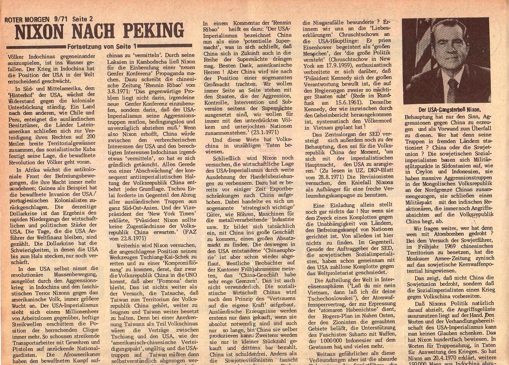 Roter Morgen, 5. Jg., 13. September 1971, Nr. 9, Seite 2a