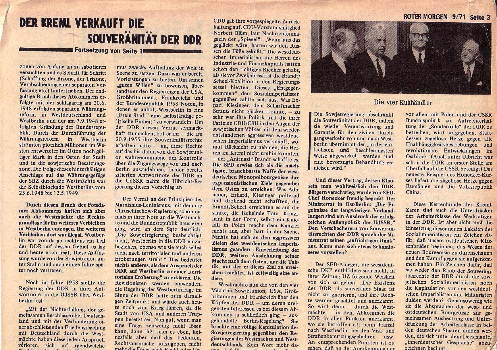 Roter Morgen, 5. Jg., 13. September 1971, Nr. 9, Seite 3a