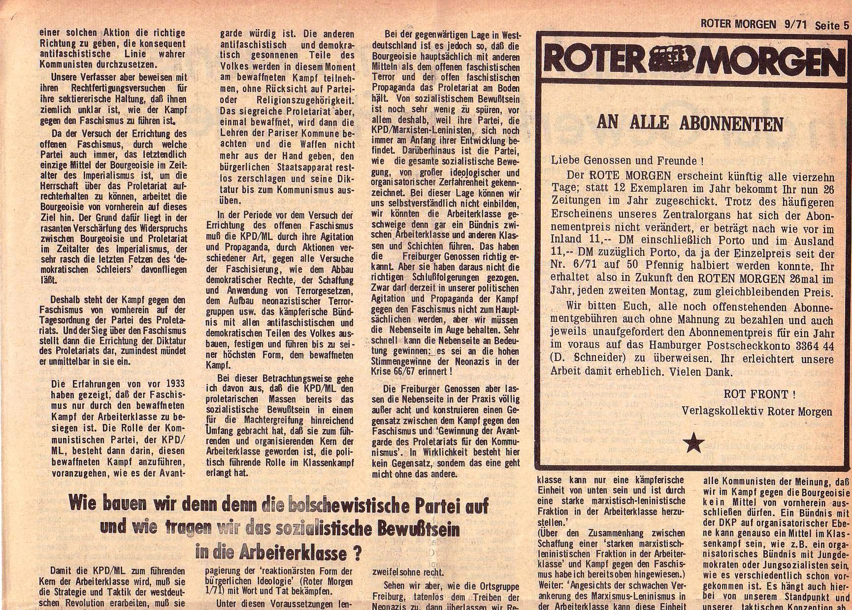 Roter Morgen, 5. Jg., 13. September 1971, Nr. 9, Seite 5a
