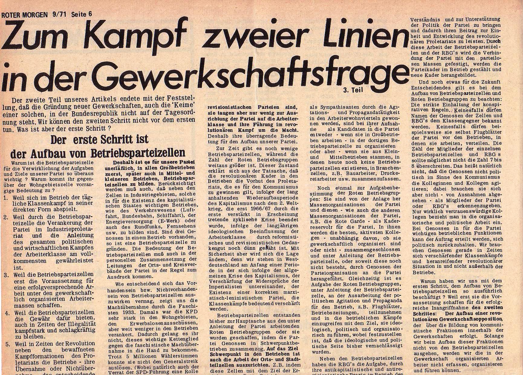 Roter Morgen, 5. Jg., 13. September 1971, Nr. 9, Seite 6a