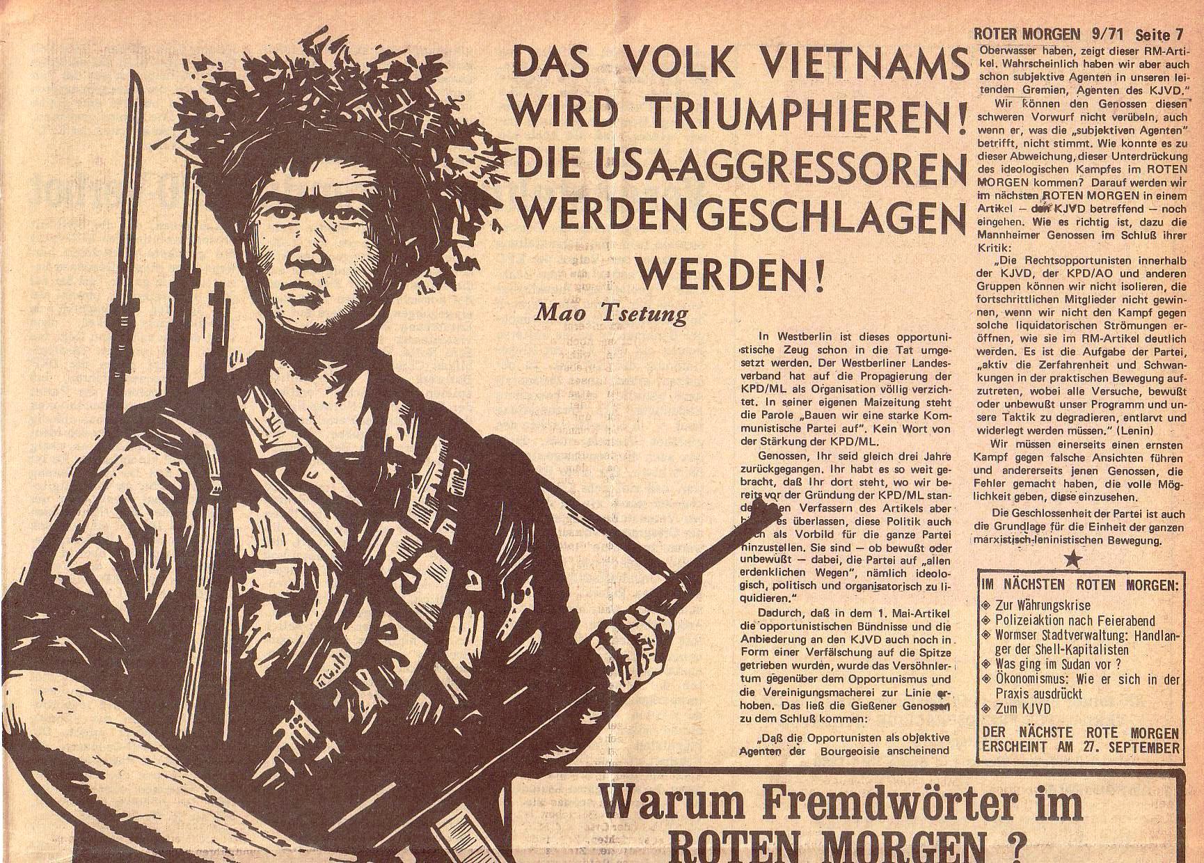 Roter Morgen, 5. Jg., 13. September 1971, Nr. 9, Seite 7a