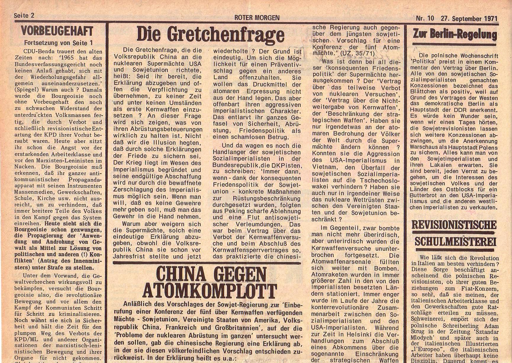 Roter Morgen, 5. Jg., 27. September 1971, Nr. 10, Seite 2a