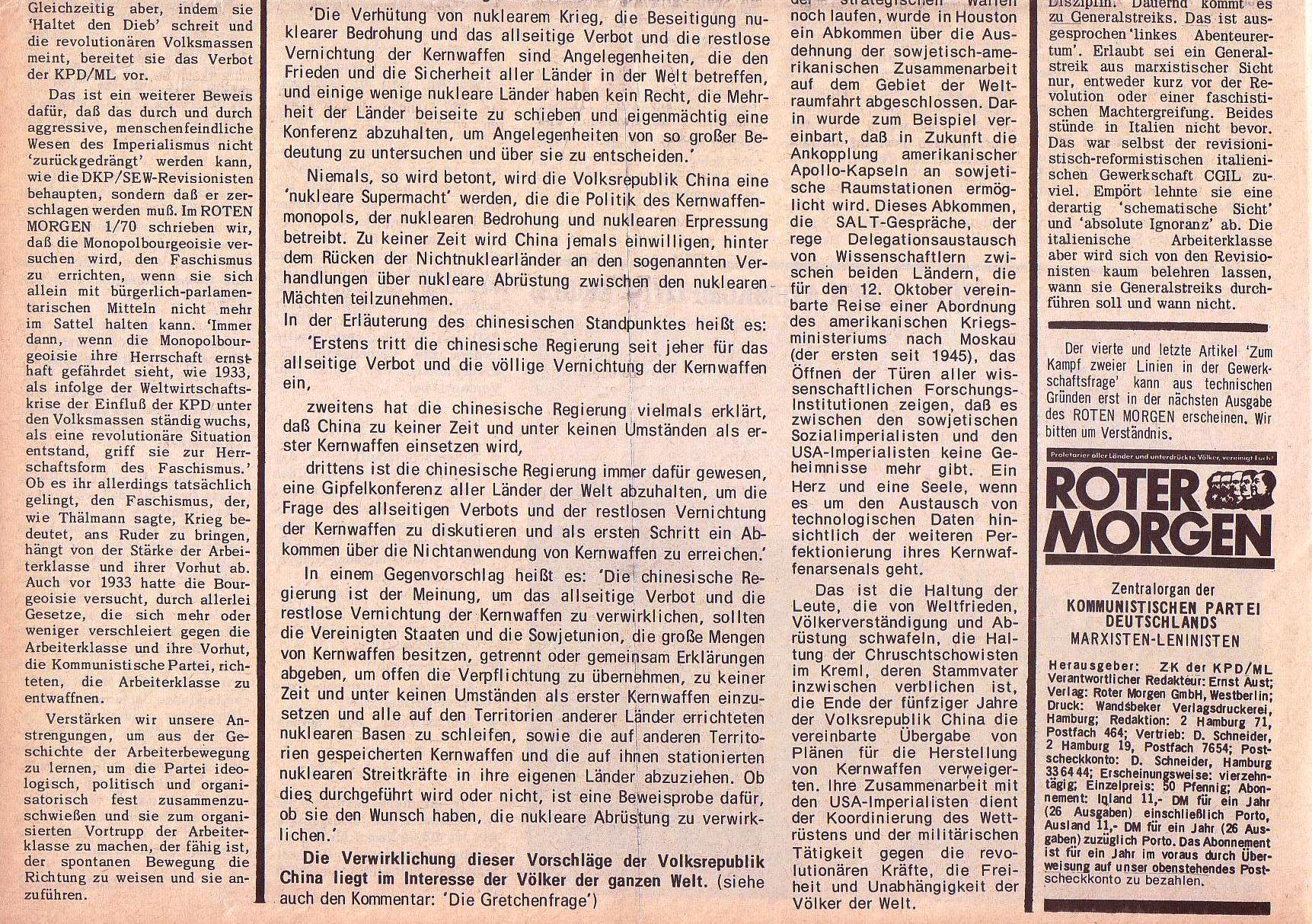 Roter Morgen, 5. Jg., 27. September 1971, Nr. 10, Seite 2b