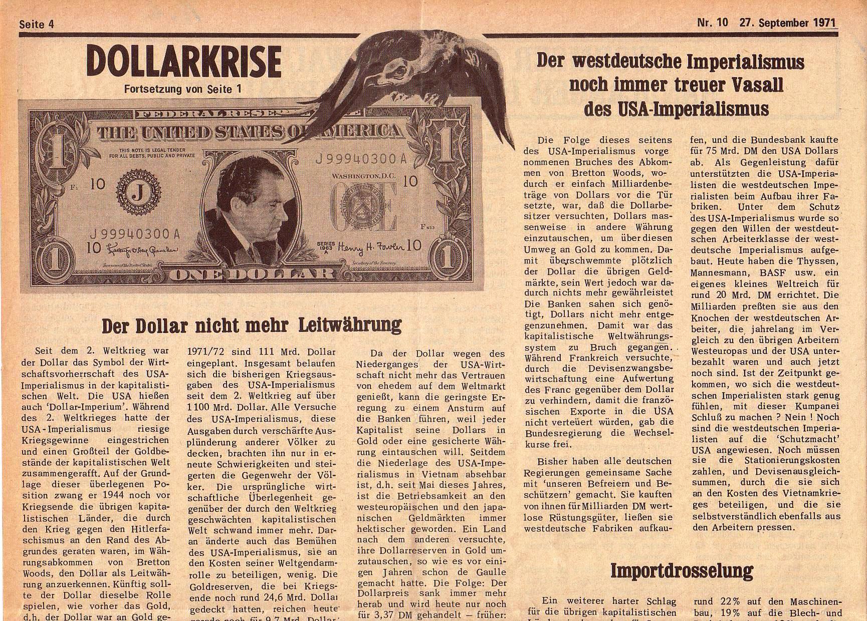 Roter Morgen, 5. Jg., 27. September 1971, Nr. 10, Seite 4a