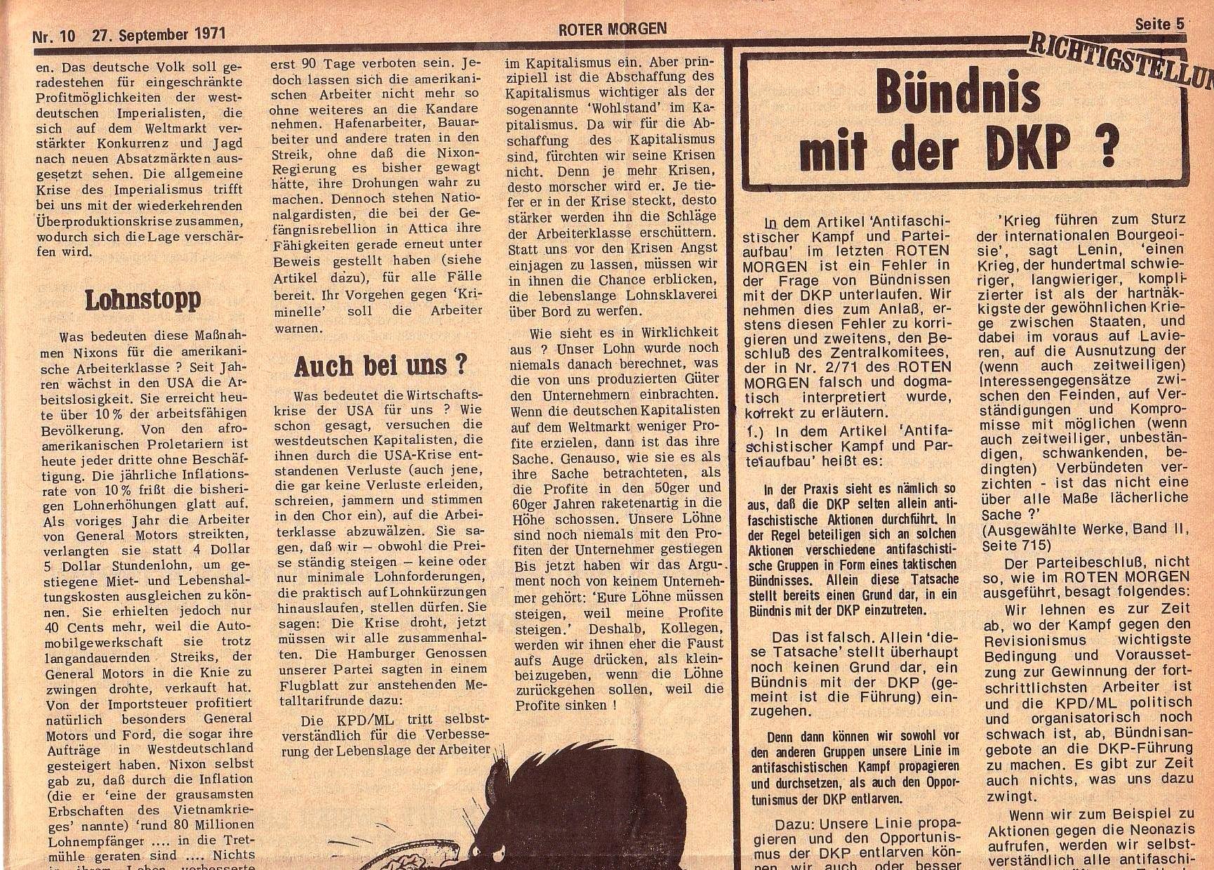 Roter Morgen, 5. Jg., 27. September 1971, Nr. 10, Seite 5a