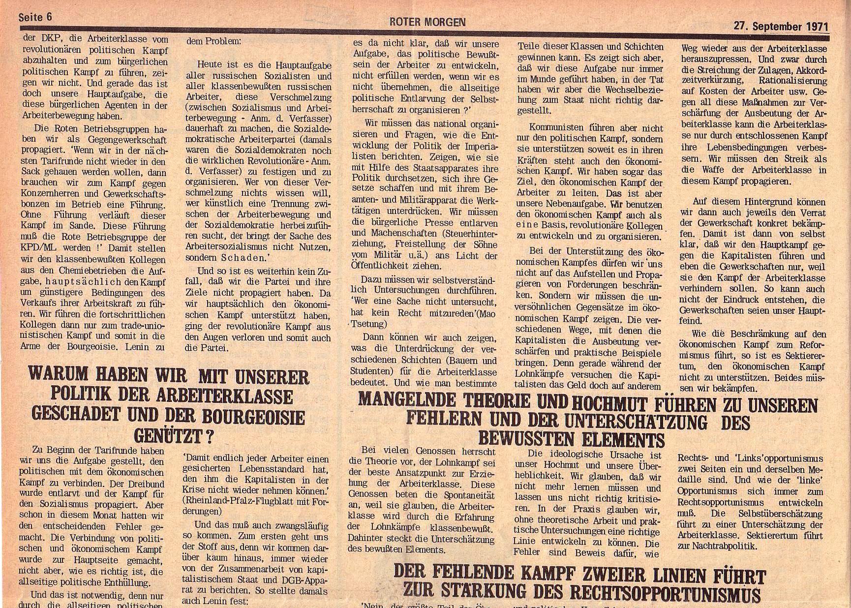 Roter Morgen, 5. Jg., 27. September 1971, Nr. 10, Seite 6a