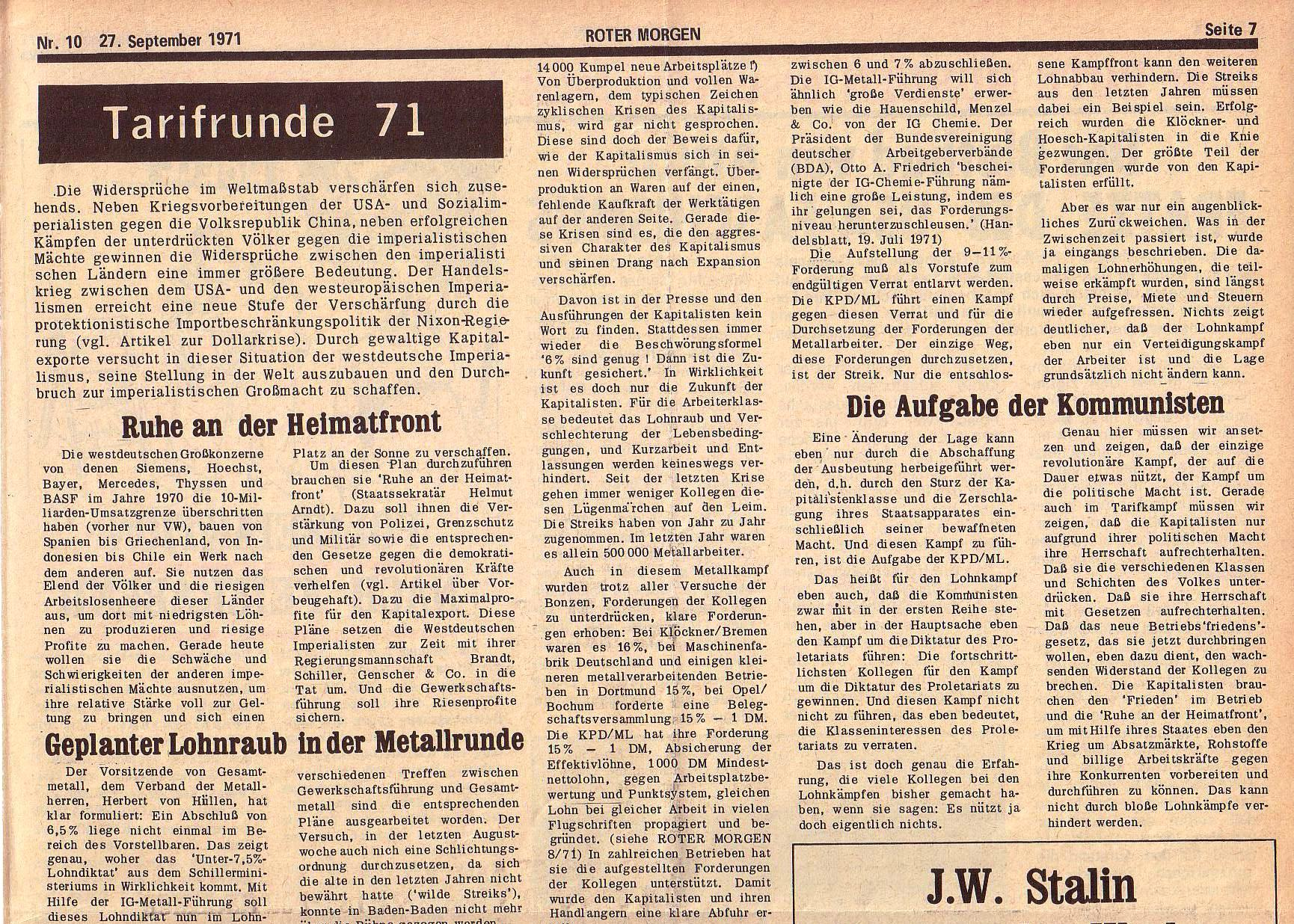 Roter Morgen, 5. Jg., 27. September 1971, Nr. 10, Seite 7a