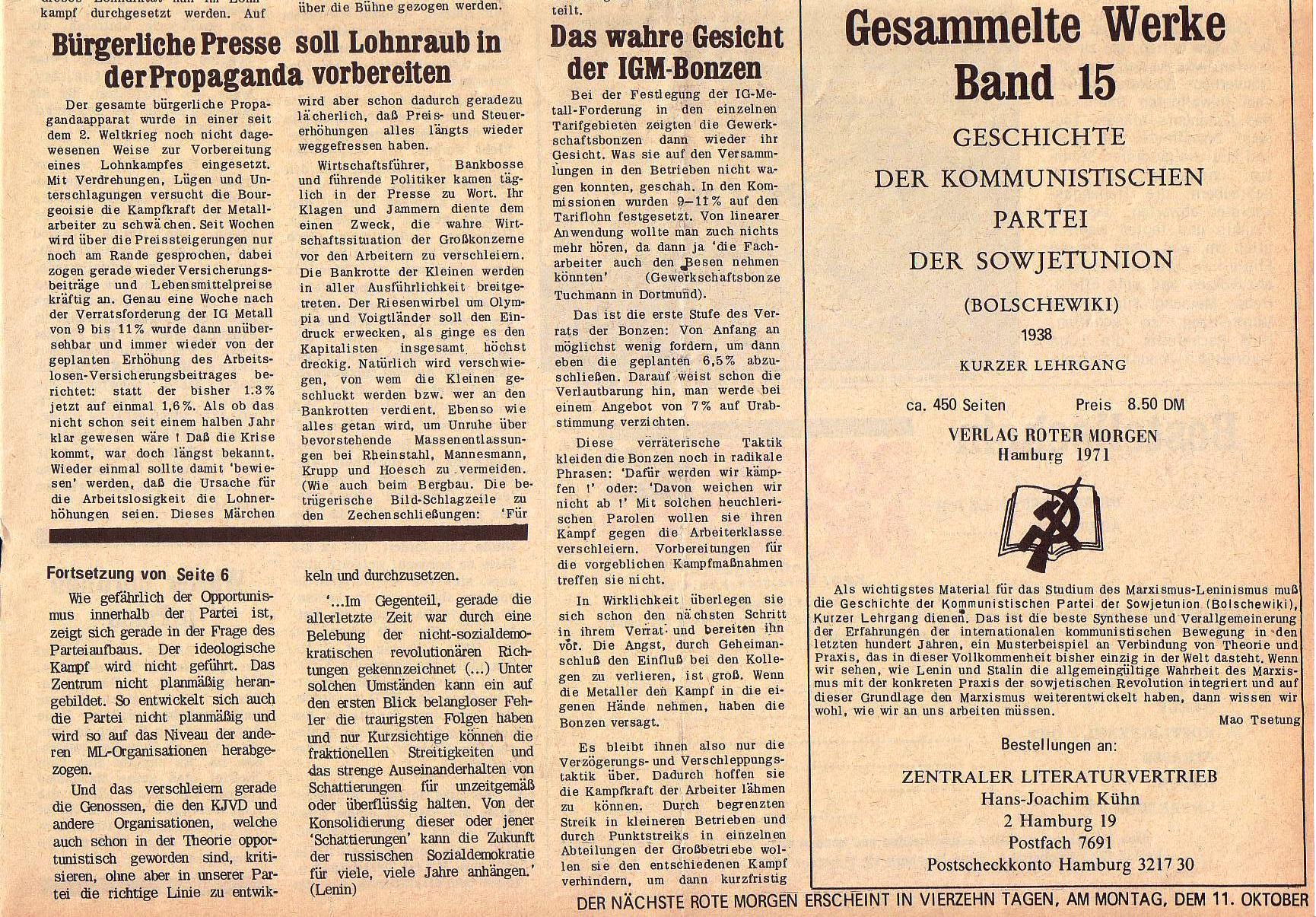 Roter Morgen, 5. Jg., 27. September 1971, Nr. 10, Seite 7b