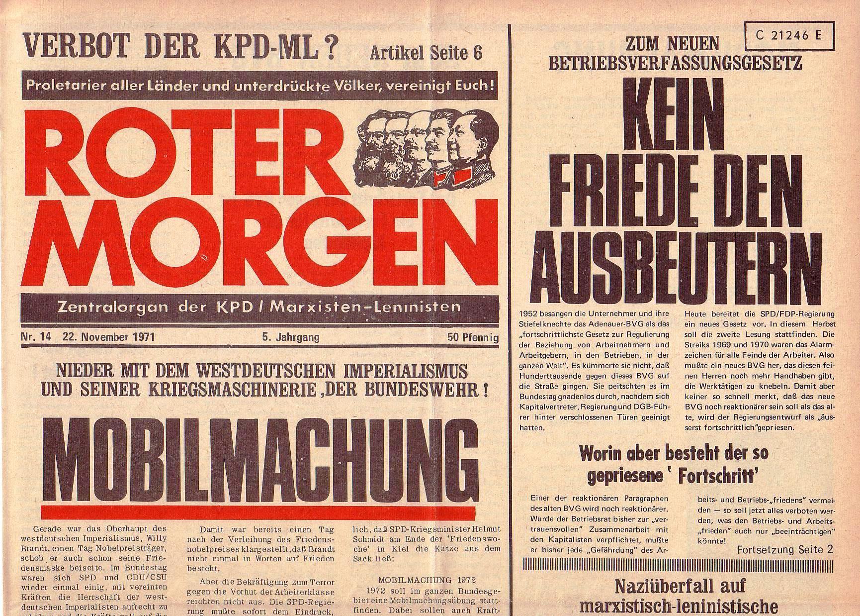 Roter Morgen, 5. Jg., 22. November 1971, Nr. 14, Seite 1a