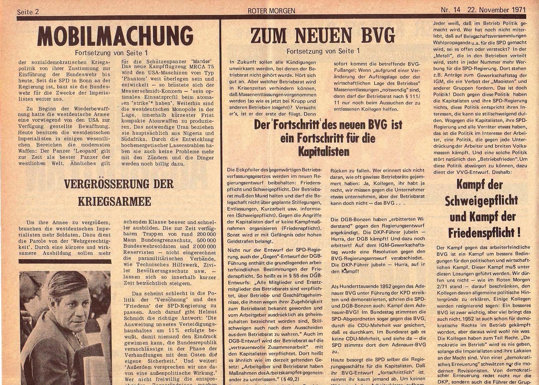 Roter Morgen, 5. Jg., 22. November 1971, Nr. 14, Seite 2a