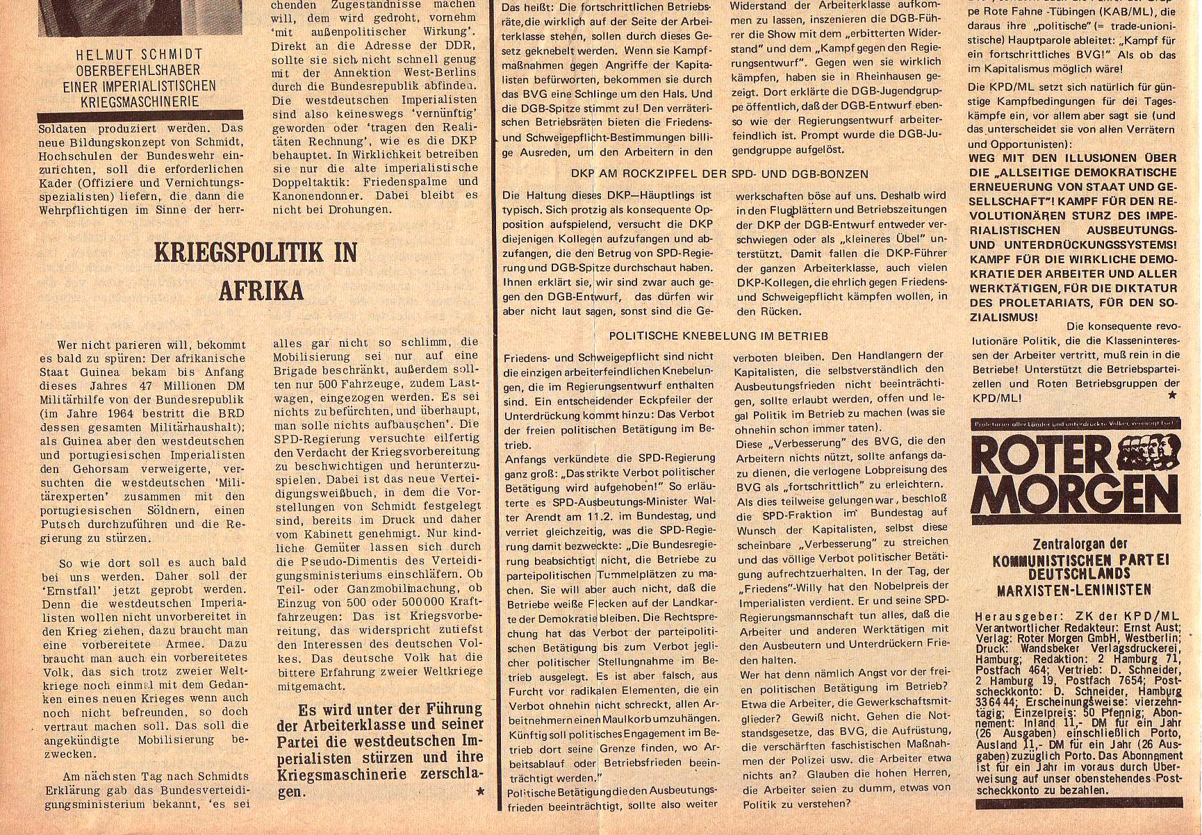Roter Morgen, 5. Jg., 22. November 1971, Nr. 14, Seite 2b