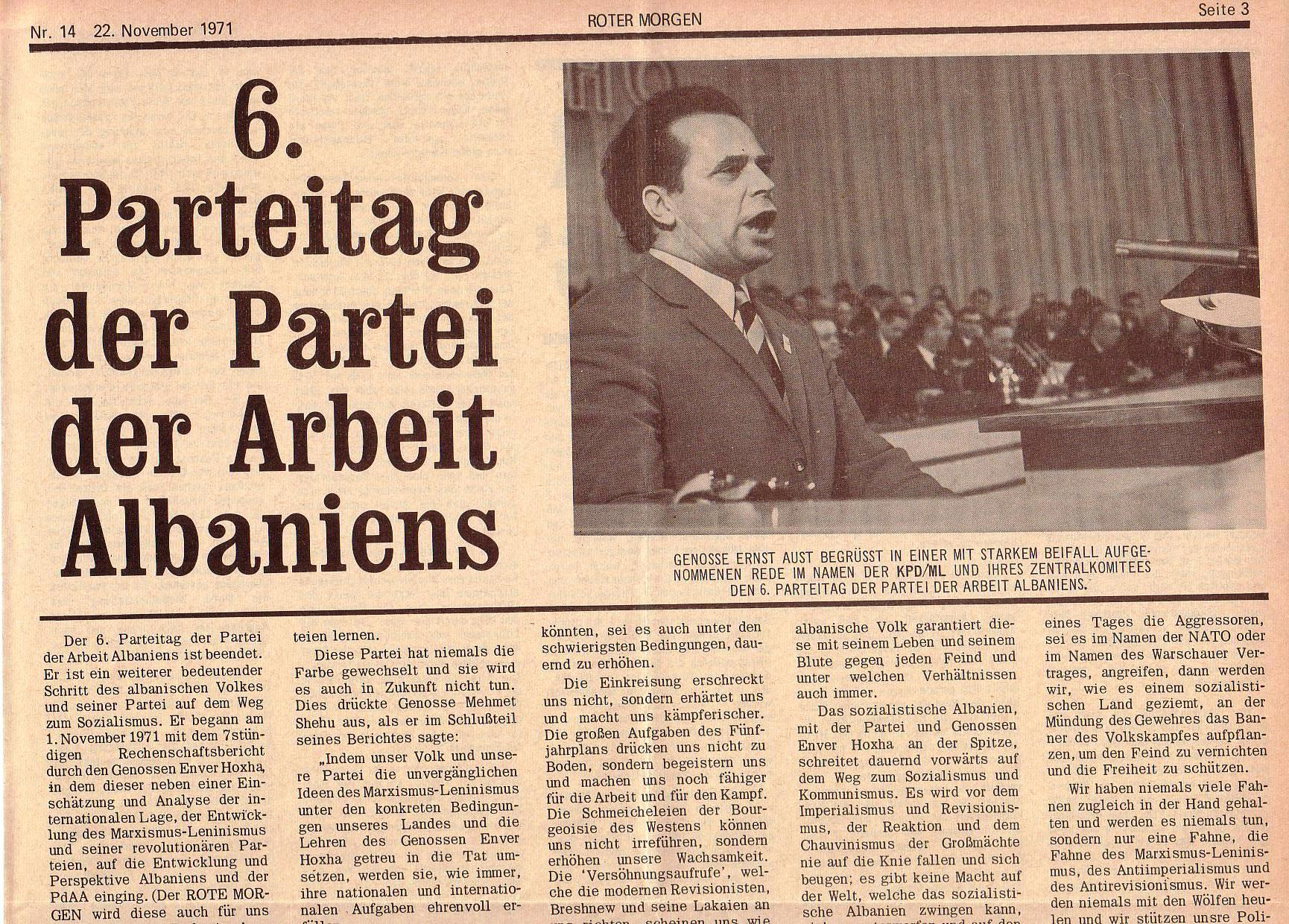 Roter Morgen, 5. Jg., 22. November 1971, Nr. 14, Seite 3a