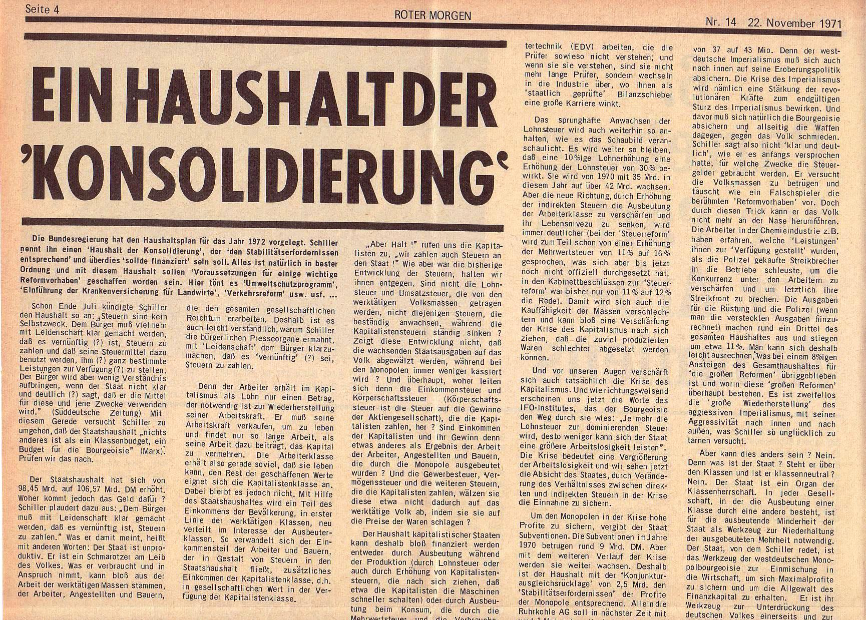 Roter Morgen, 5. Jg., 22. November 1971, Nr. 14, Seite 4a