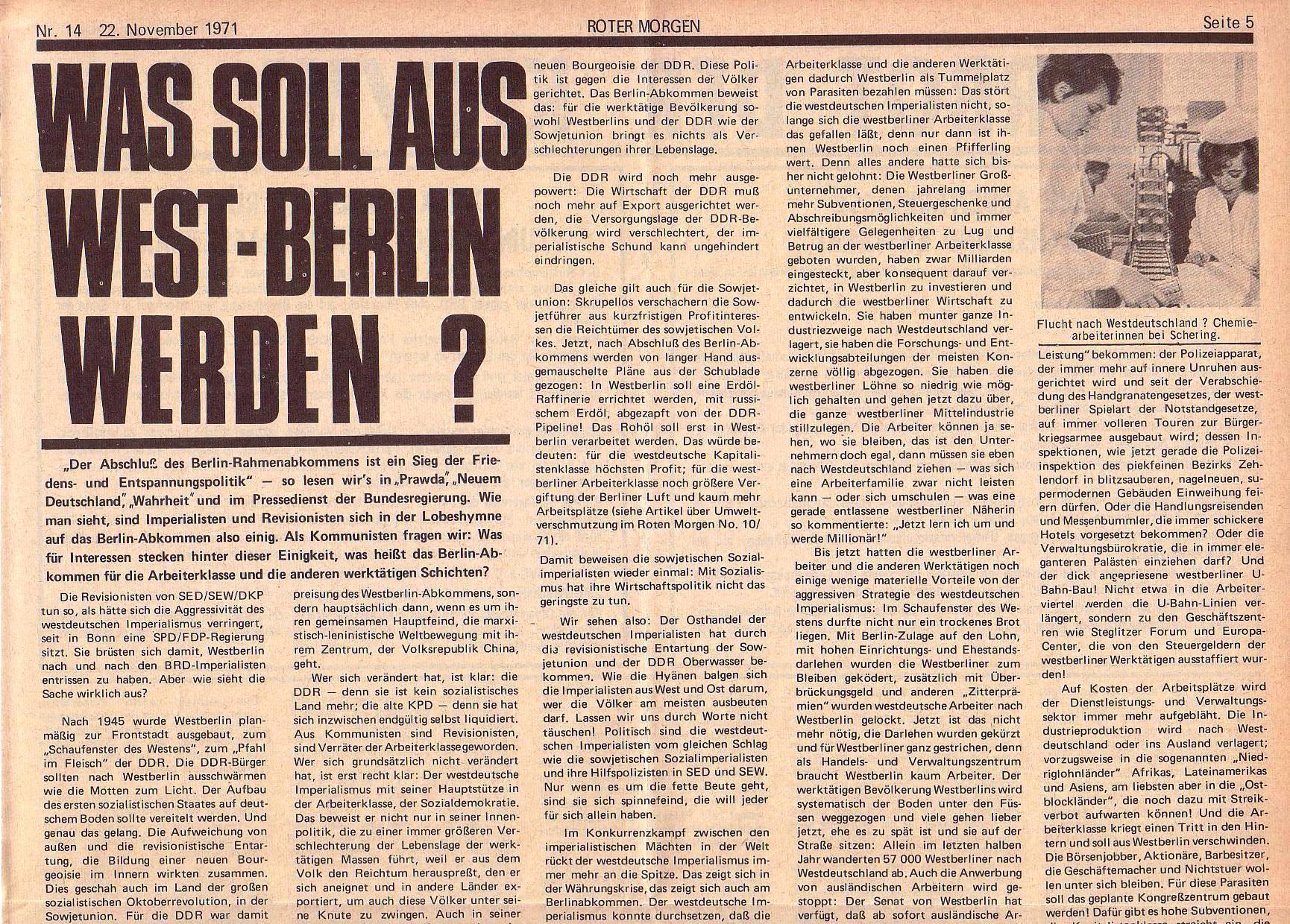 Roter Morgen, 5. Jg., 22. November 1971, Nr. 14, Seite 5a