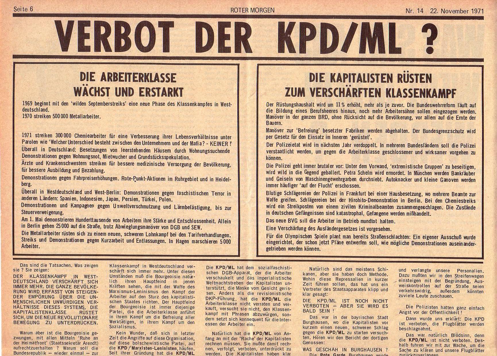 Roter Morgen, 5. Jg., 22. November 1971, Nr. 14, Seite 6a