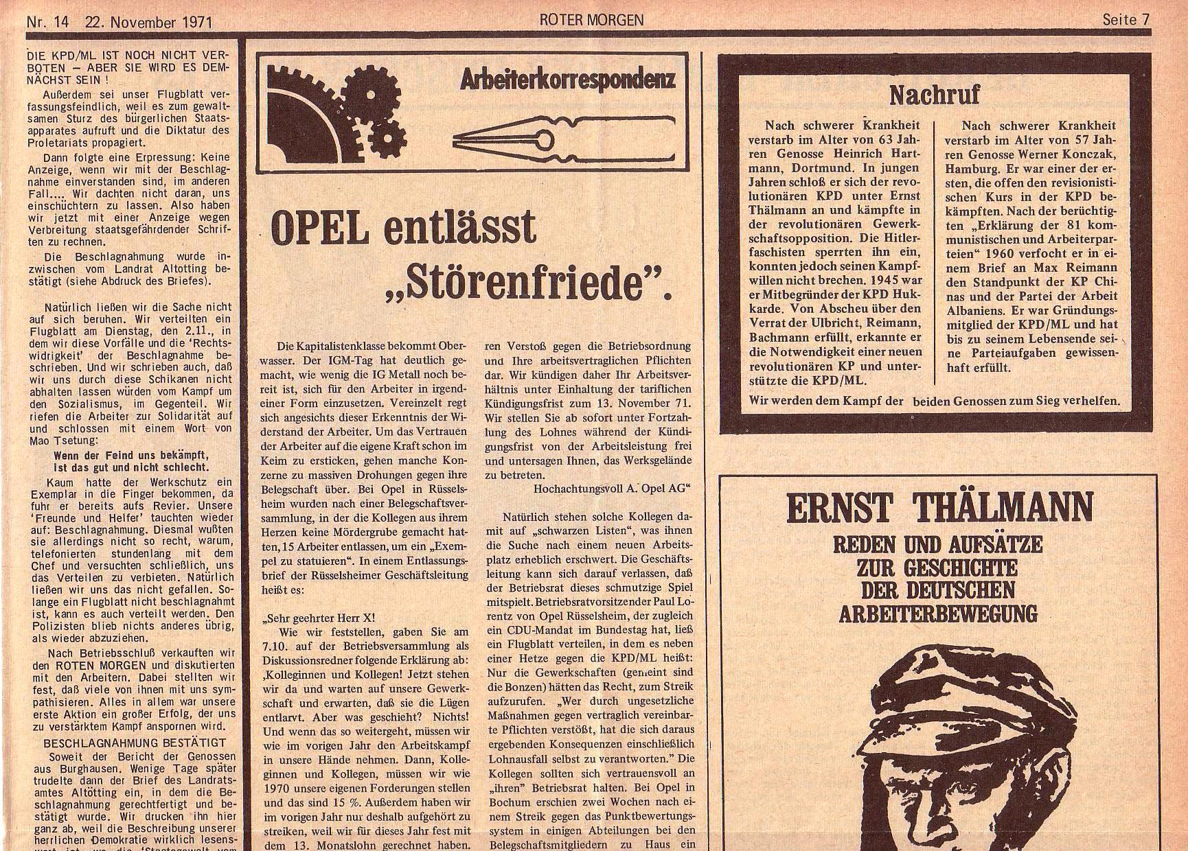 Roter Morgen, 5. Jg., 22. November 1971, Nr. 14, Seite 7a