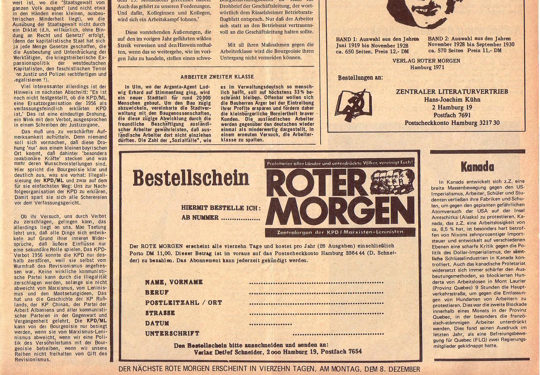 Roter Morgen, 5. Jg., 22. November 1971, Nr. 14, Seite 7b