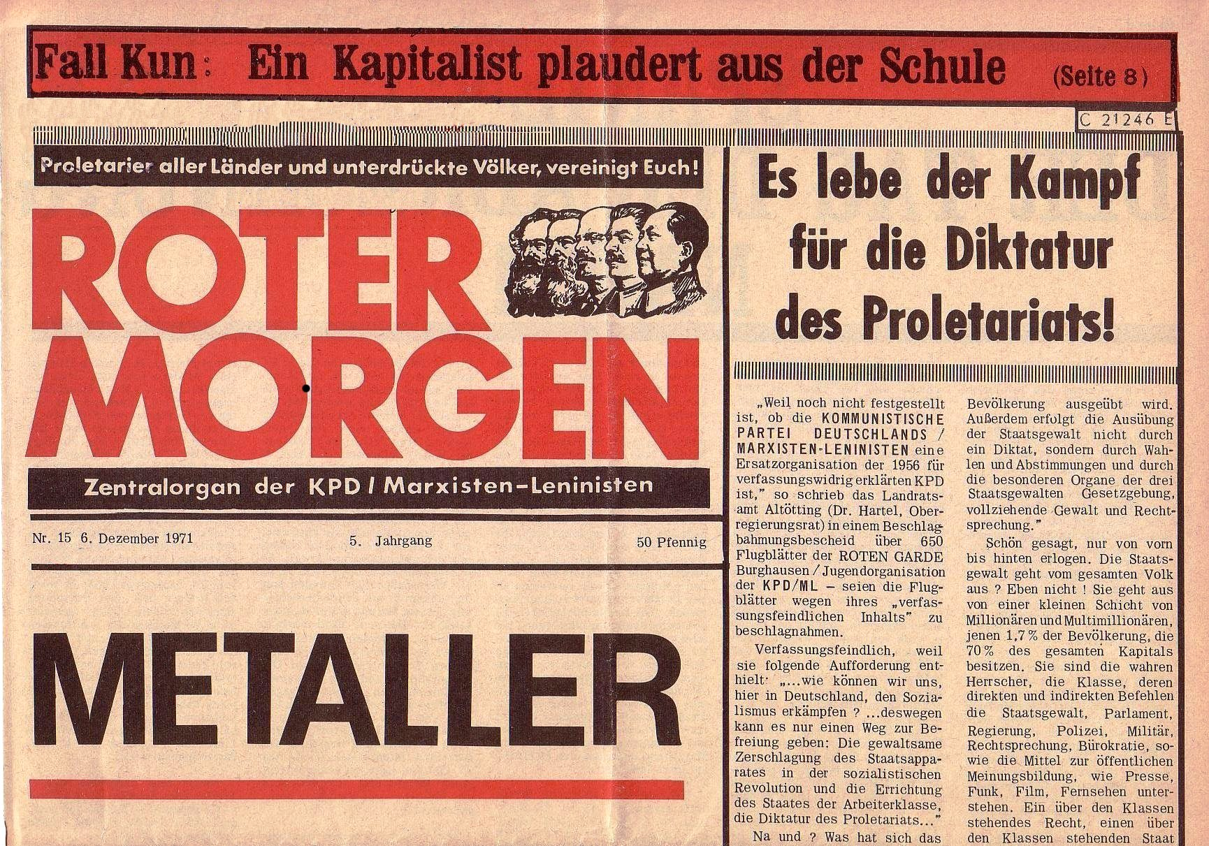 Roter Morgen, 5. Jg., 6. Dezember 1971, Nr. 15, Seite 1a