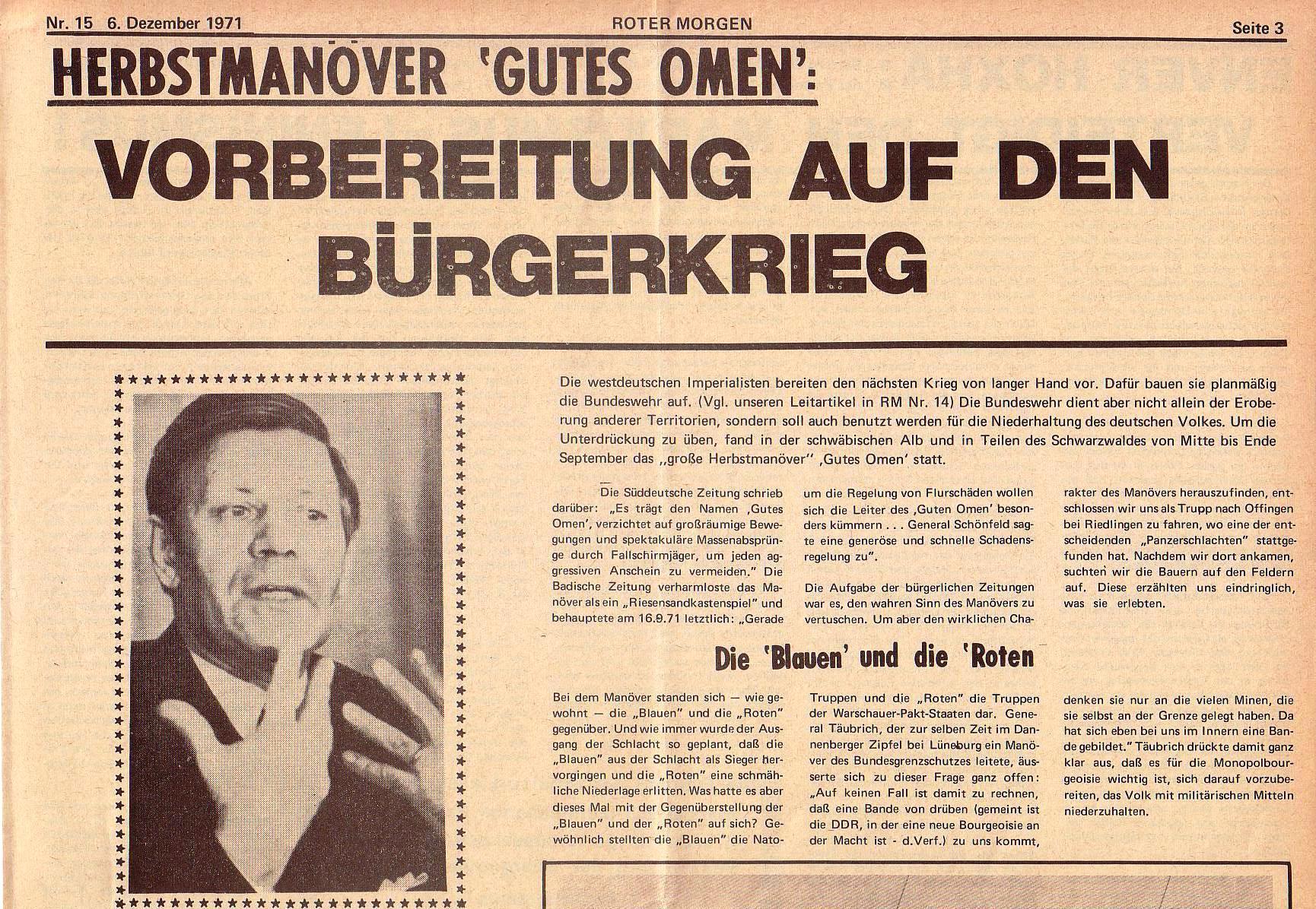 Roter Morgen, 5. Jg., 6. Dezember 1971, Nr. 15, Seite 3a