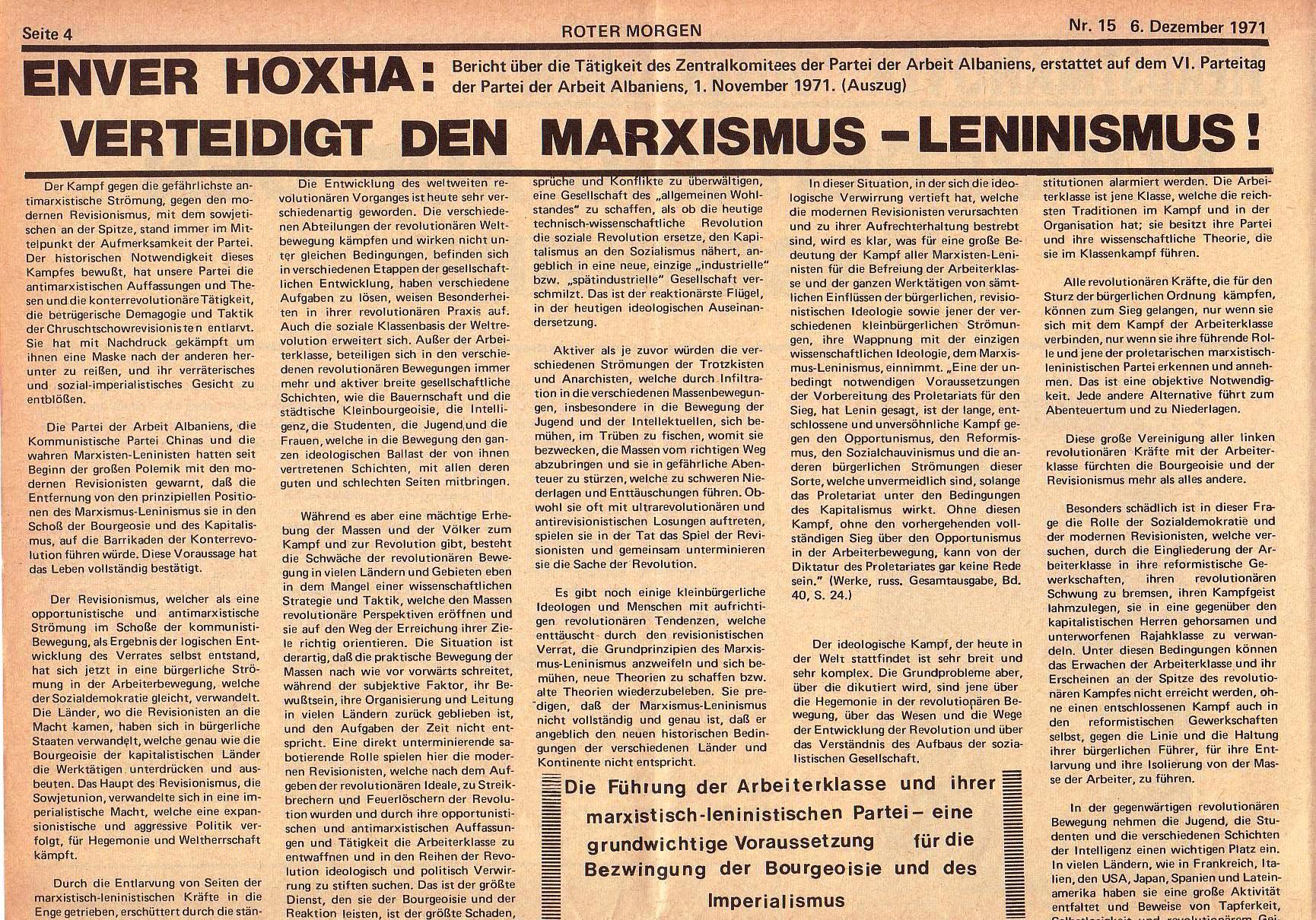 Roter Morgen, 5. Jg., 6. Dezember 1971, Nr. 15, Seite 4a
