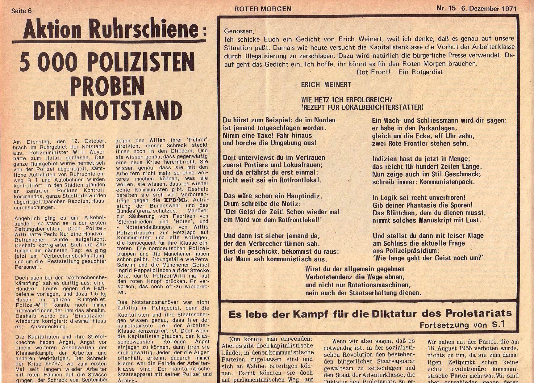 Roter Morgen, 5. Jg., 6. Dezember 1971, Nr. 15, Seite 6a