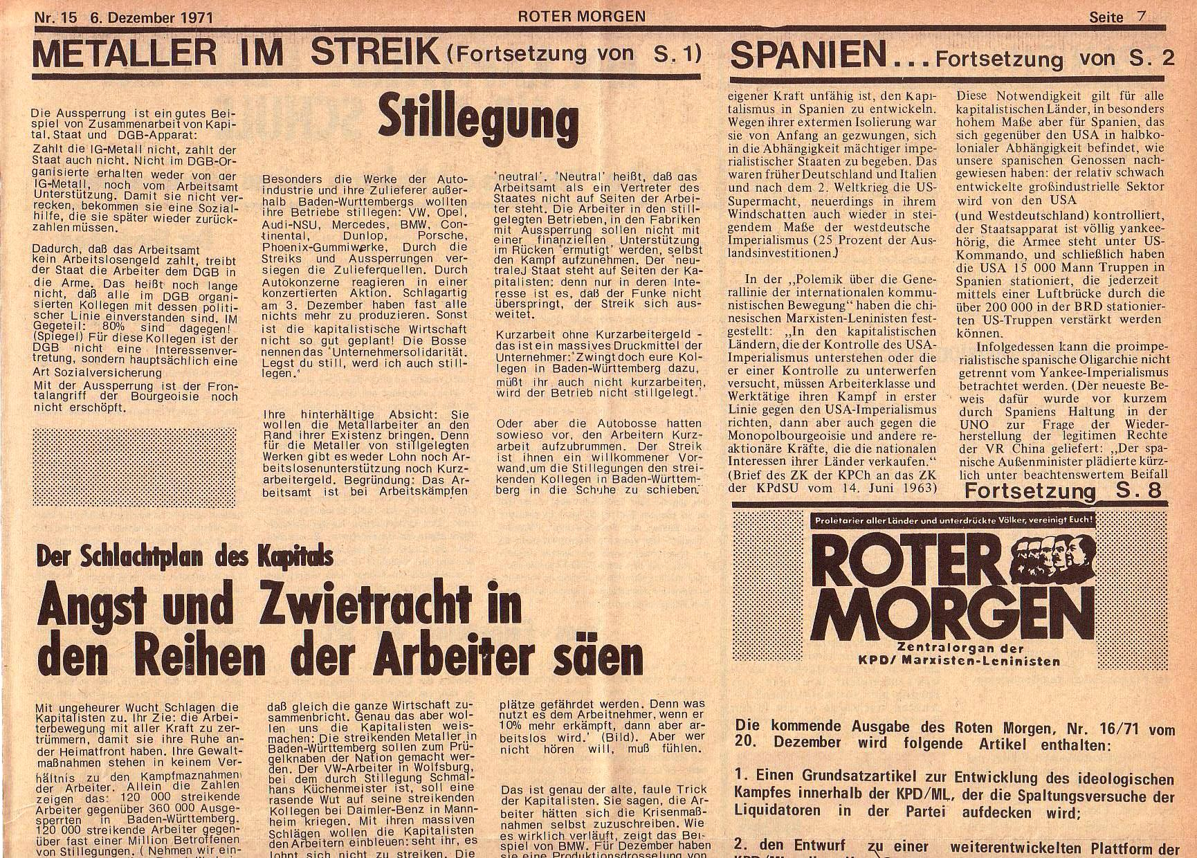 Roter Morgen, 5. Jg., 6. Dezember 1971, Nr. 15, Seite 7a