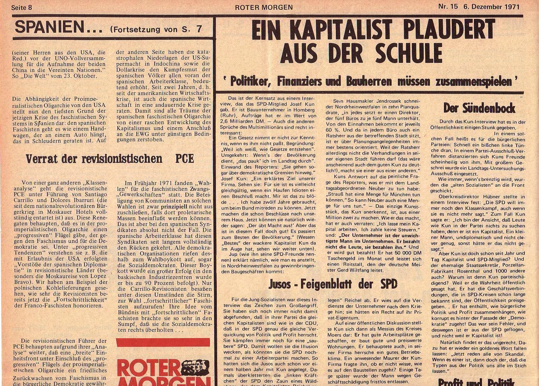 Roter Morgen, 5. Jg., 6. Dezember 1971, Nr. 15, Seite 8a