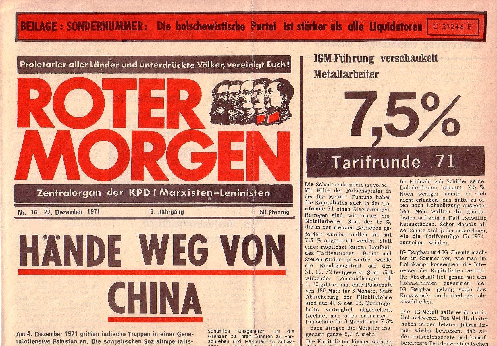 Roter Morgen, 5. Jg., 27. Dezember 1971, Nr. 16, Seite 1a