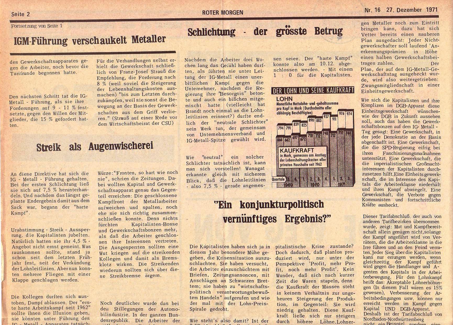 Roter Morgen, 5. Jg., 27. Dezember 1971, Nr. 16, Seite 2a