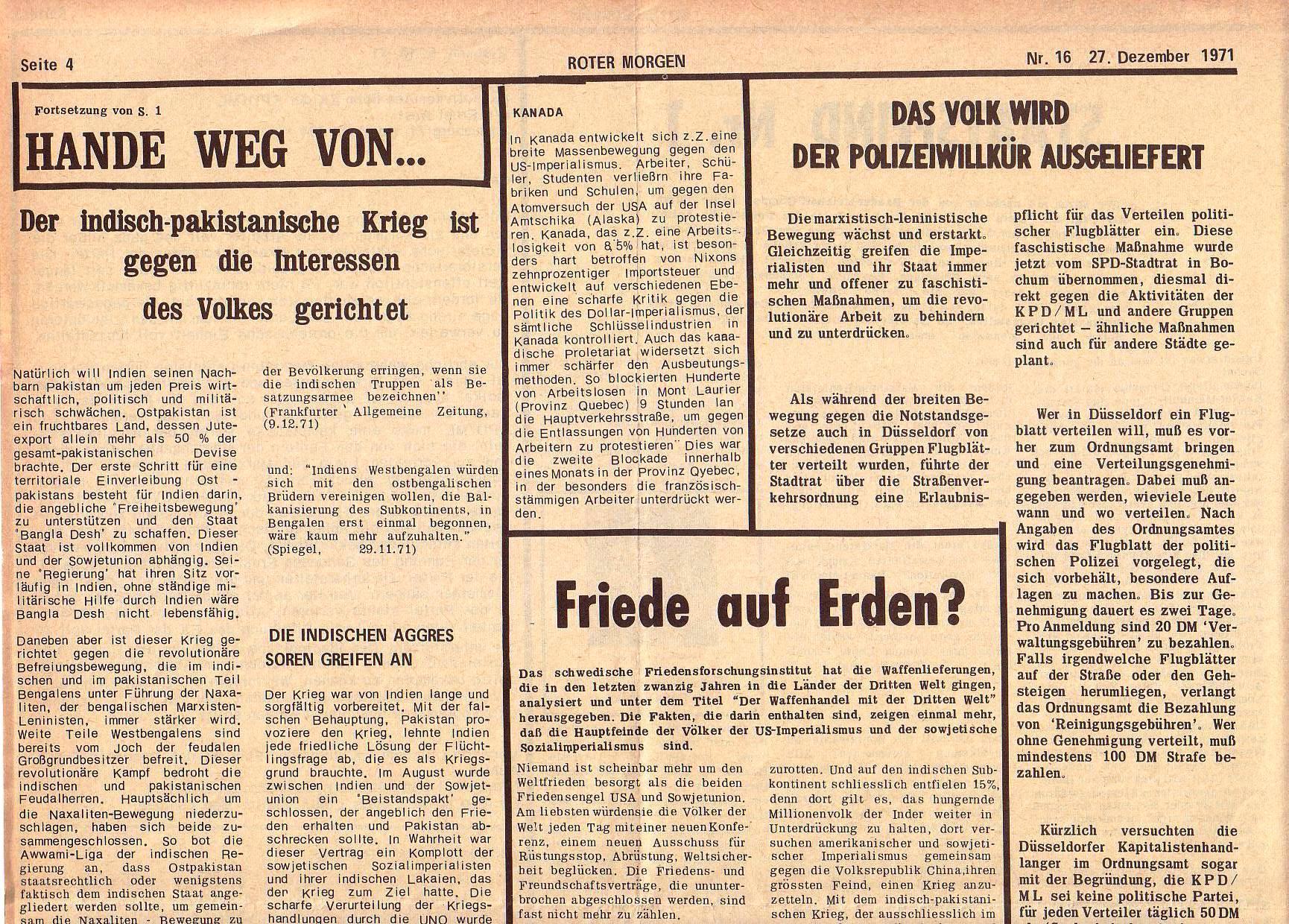Roter Morgen, 5. Jg., 27. Dezember 1971, Nr. 16, Seite 4a