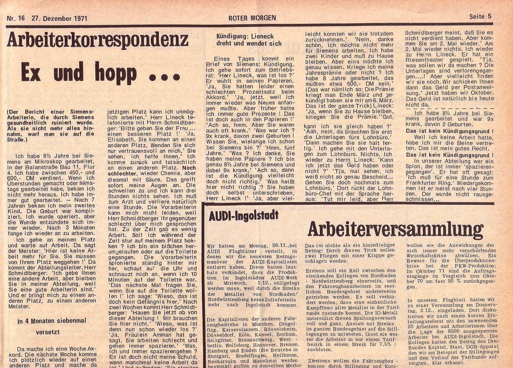 Roter Morgen, 5. Jg., 27. Dezember 1971, Nr. 16, Seite 5a
