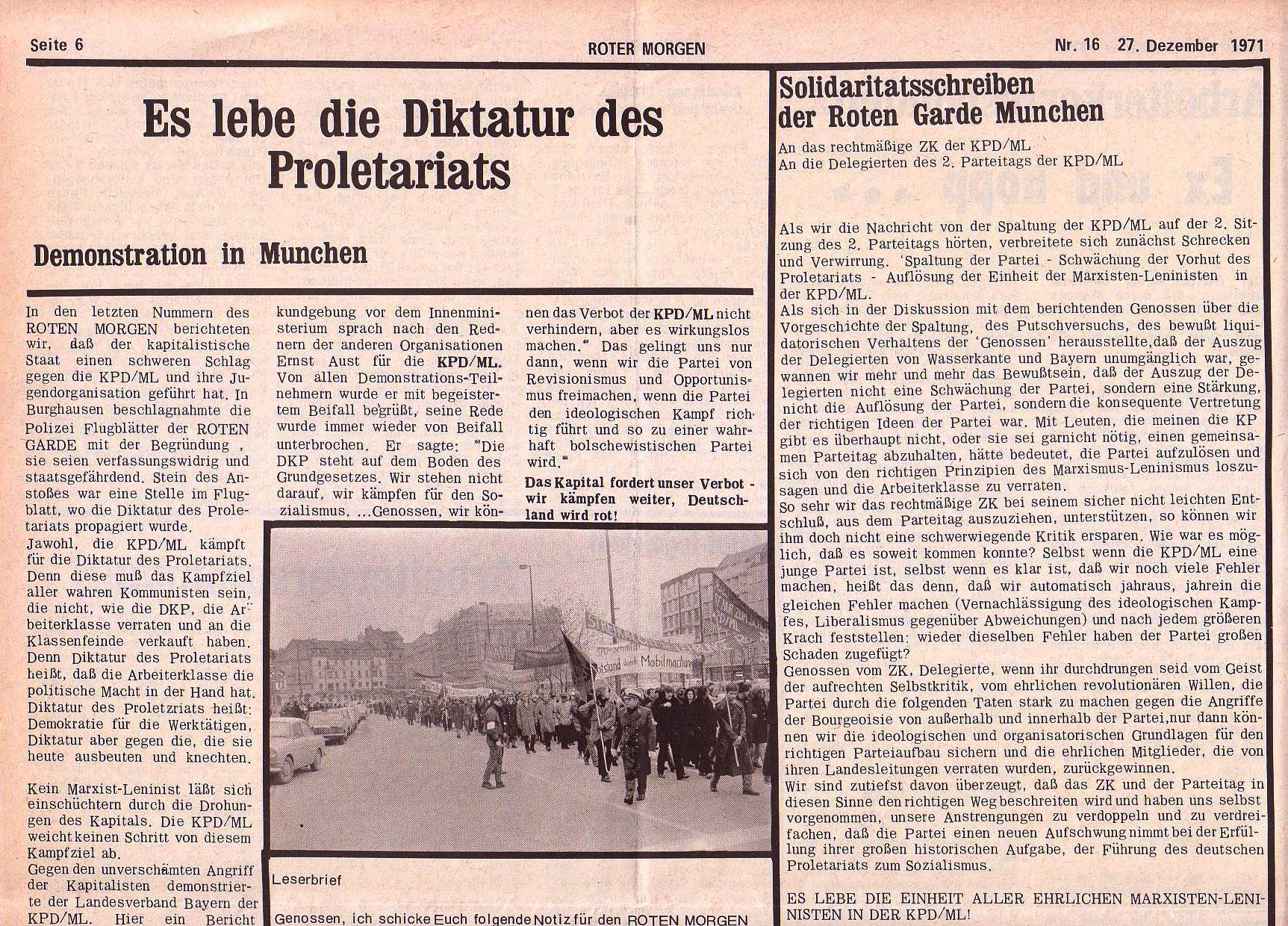 Roter Morgen, 5. Jg., 27. Dezember 1971, Nr. 16, Seite 6a