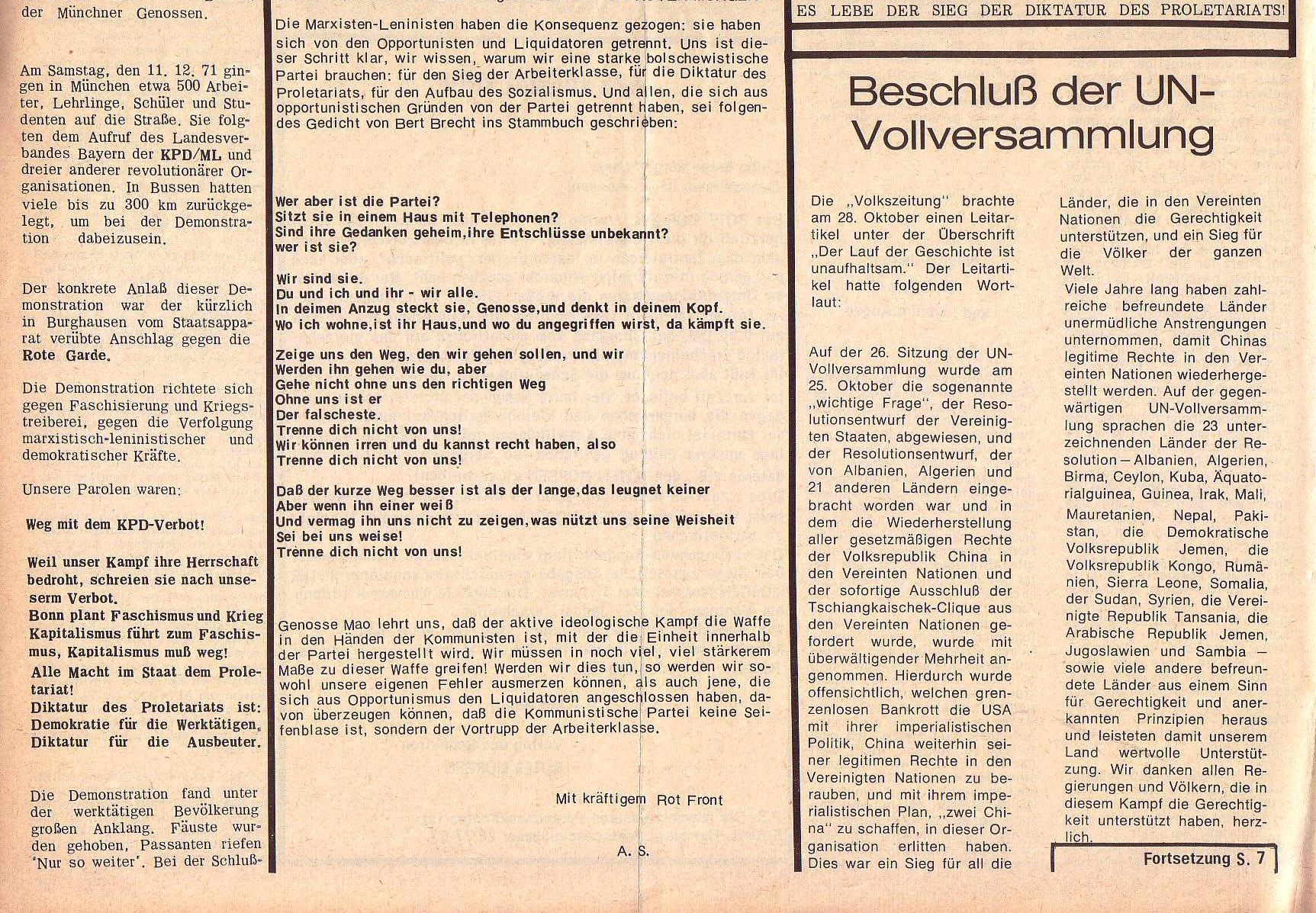 Roter Morgen, 5. Jg., 27. Dezember 1971, Nr. 16, Seite 6b