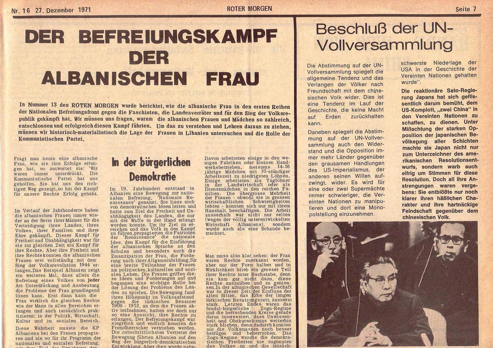 Roter Morgen, 5. Jg., 27. Dezember 1971, Nr. 16, Seite 7a