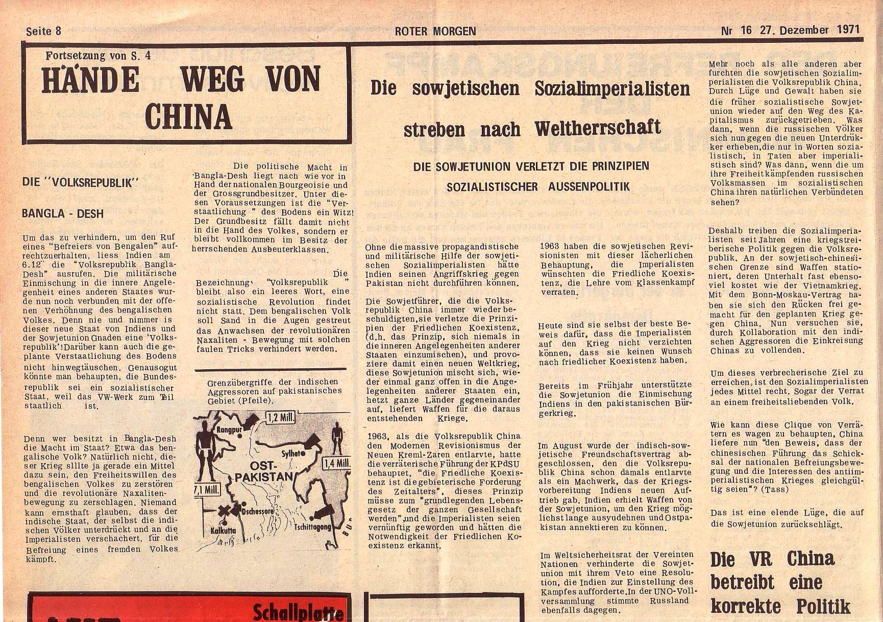 Roter Morgen, 5. Jg., 27. Dezember 1971, Nr. 16, Seite 8a