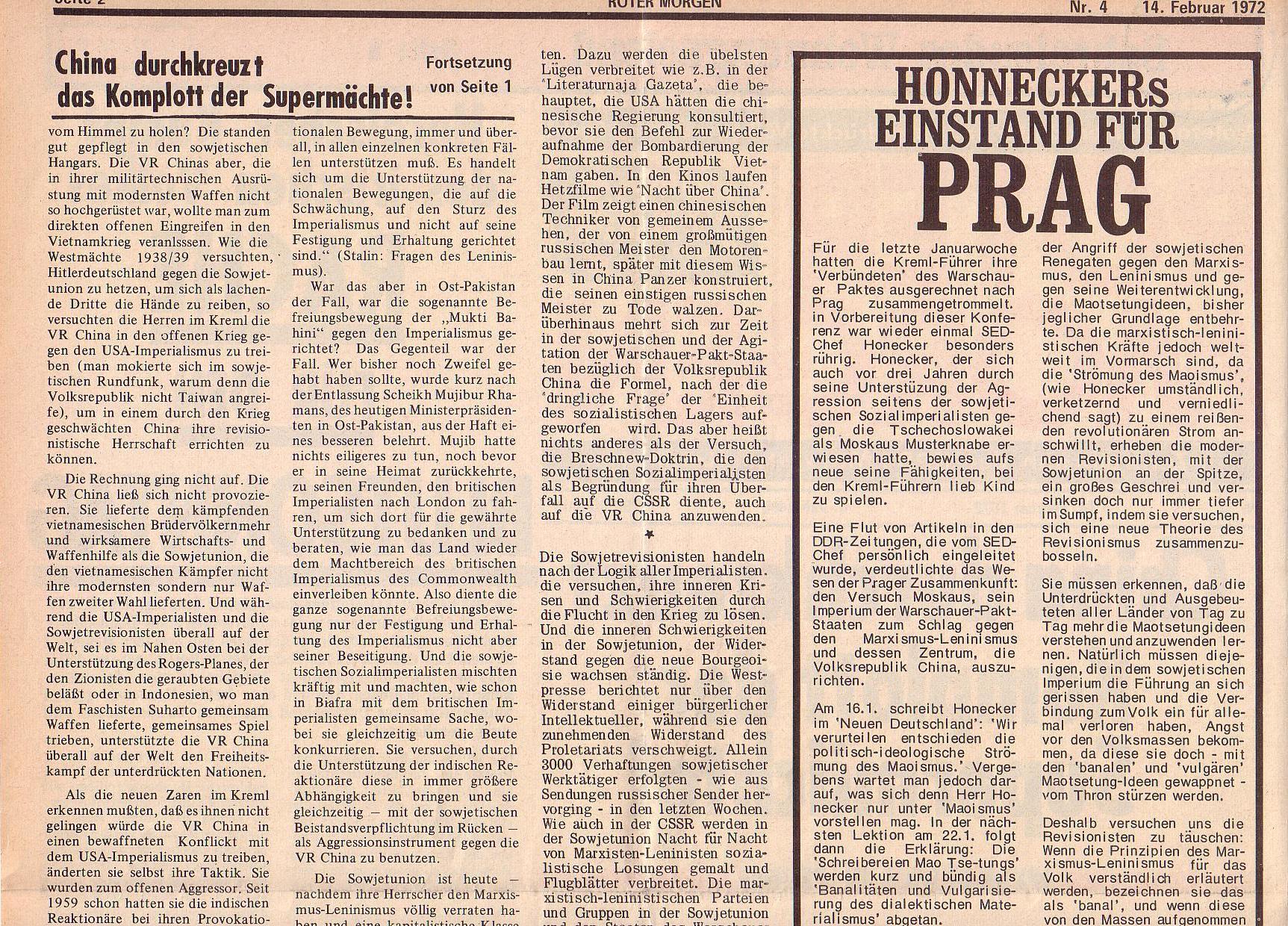 Roter Morgen, 6. Jg., 14. Februar 1972, Nr. 4, Seite 2a