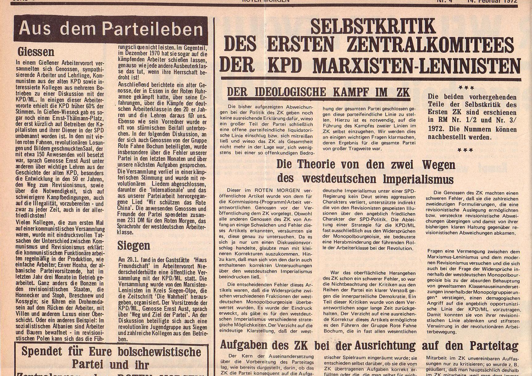 Roter Morgen, 6. Jg., 14. Februar 1972, Nr. 4, Seite 6a