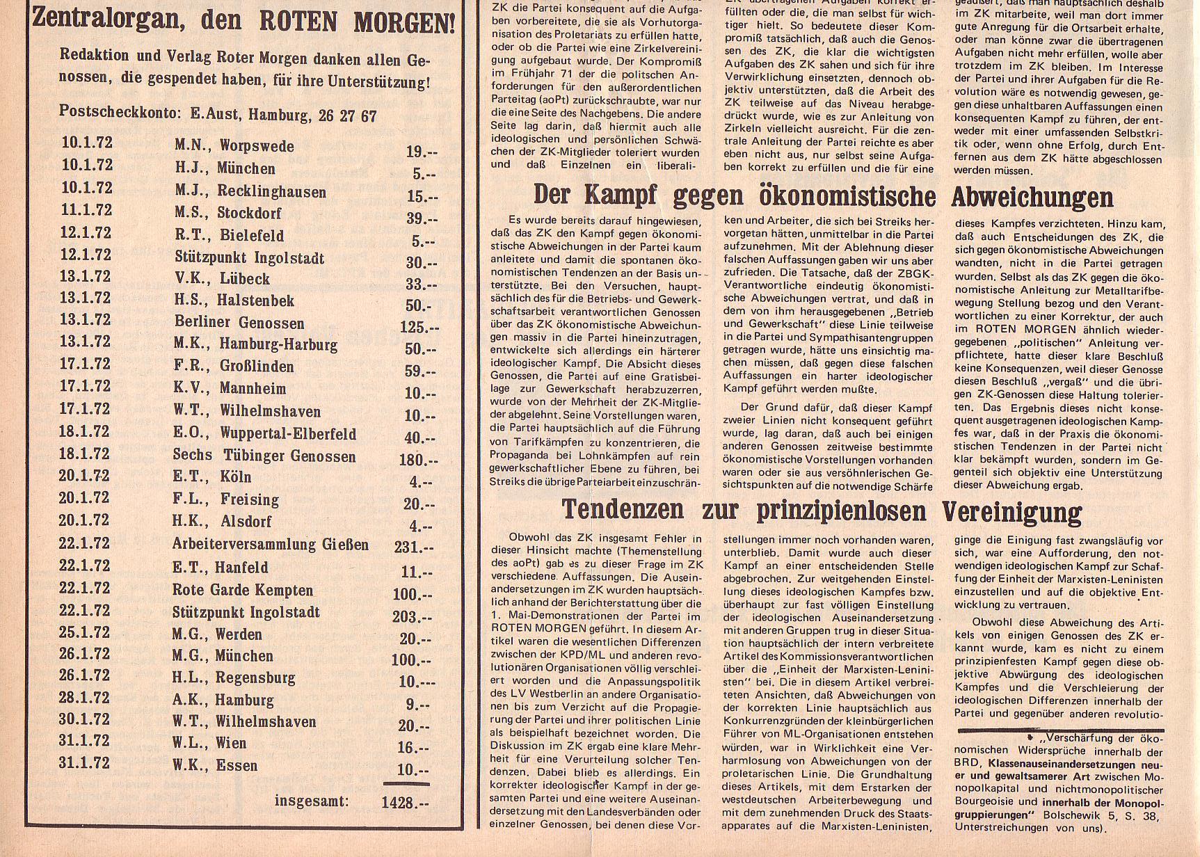 Roter Morgen, 6. Jg., 14. Februar 1972, Nr. 4, Seite 6b