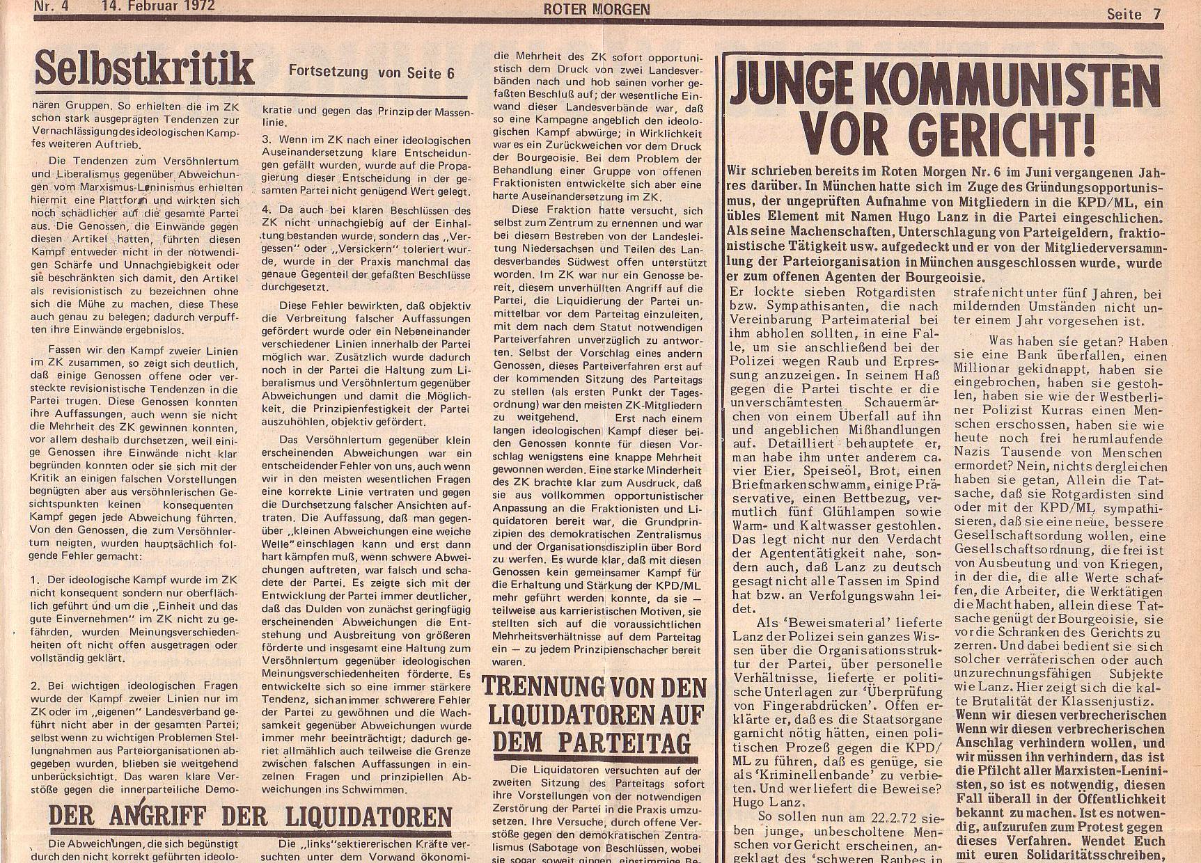 Roter Morgen, 6. Jg., 14. Februar 1972, Nr. 4, Seite 7a