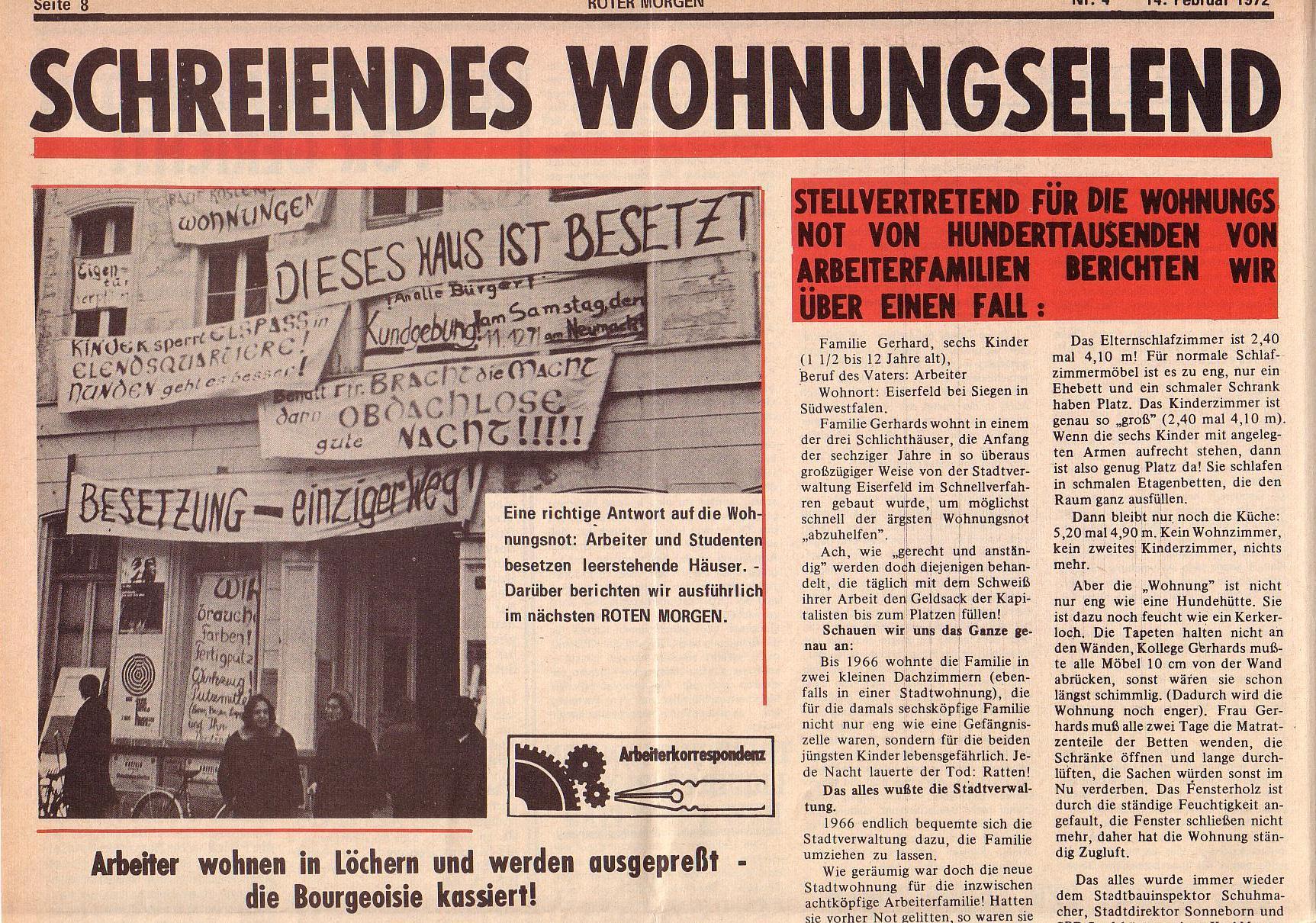 Roter Morgen, 6. Jg., 14. Februar 1972, Nr. 4, Seite 8a