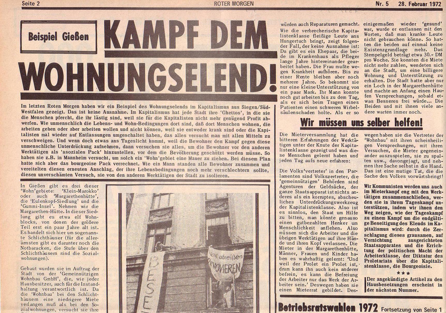 Roter Morgen, 6. Jg., 28. Februar 1972, Nr. 5, Seite 2a