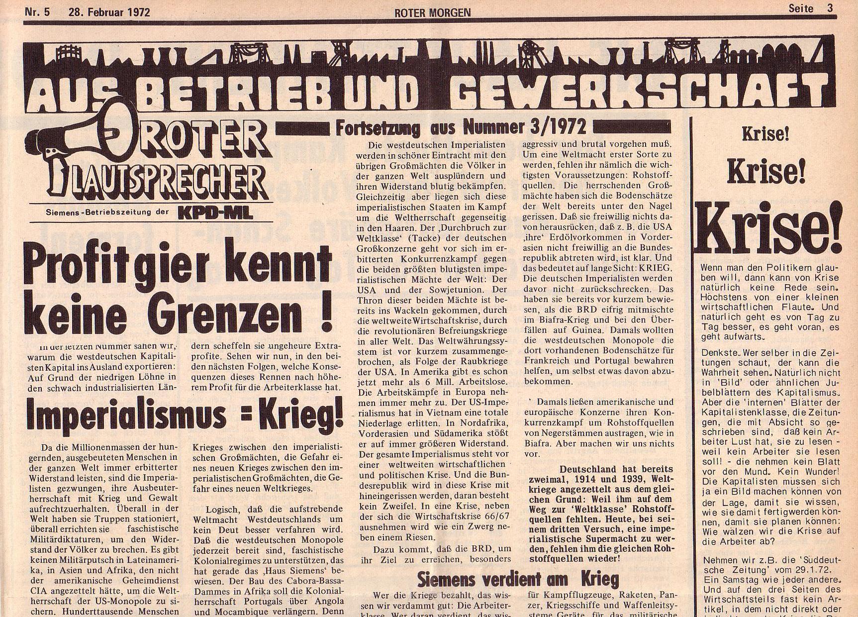 Roter Morgen, 6. Jg., 28. Februar 1972, Nr. 5, Seite 3a